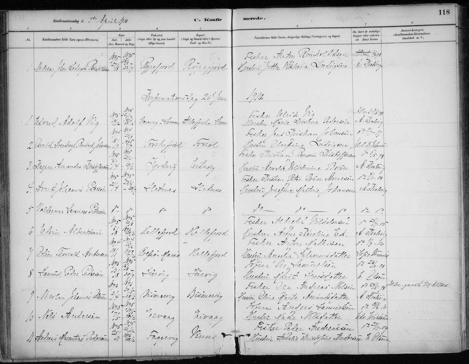 SATØ, Hammerfest sokneprestkontor, H/Ha/L0013.kirke: Ministerialbok nr. 13, 1898-1917, s. 118