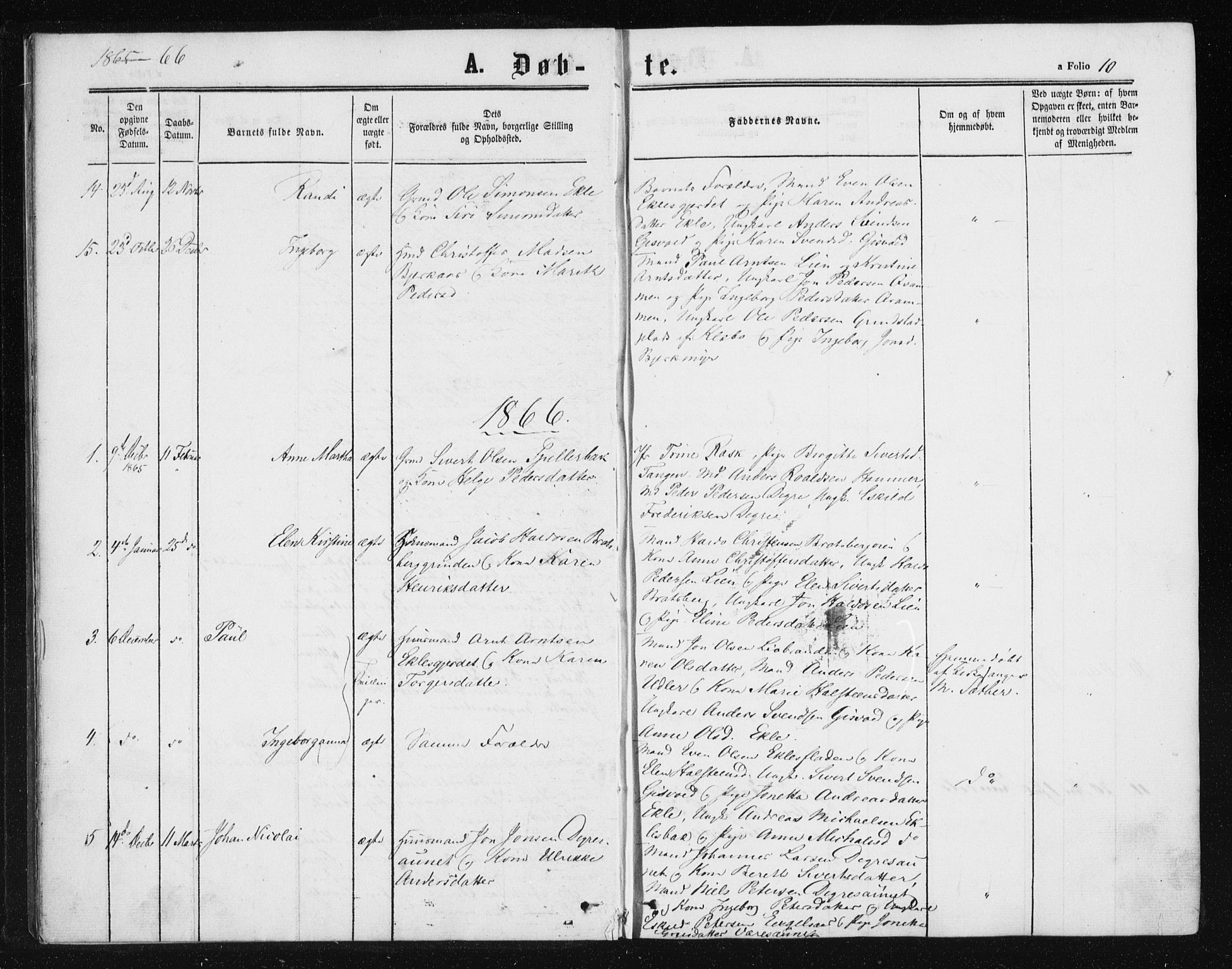 SAT, Ministerialprotokoller, klokkerbøker og fødselsregistre - Sør-Trøndelag, 608/L0333: Ministerialbok nr. 608A02, 1862-1876, s. 10