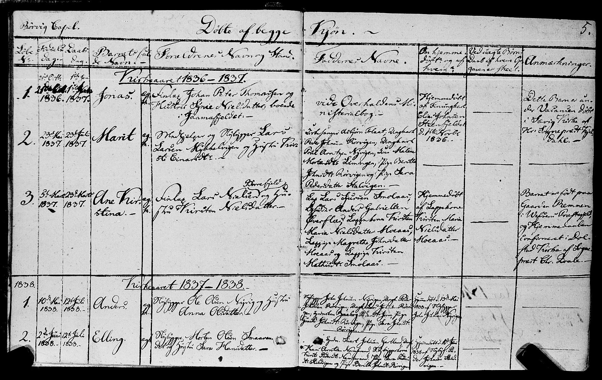 SAT, Ministerialprotokoller, klokkerbøker og fødselsregistre - Nord-Trøndelag, 762/L0538: Ministerialbok nr. 762A02 /1, 1833-1879, s. 5
