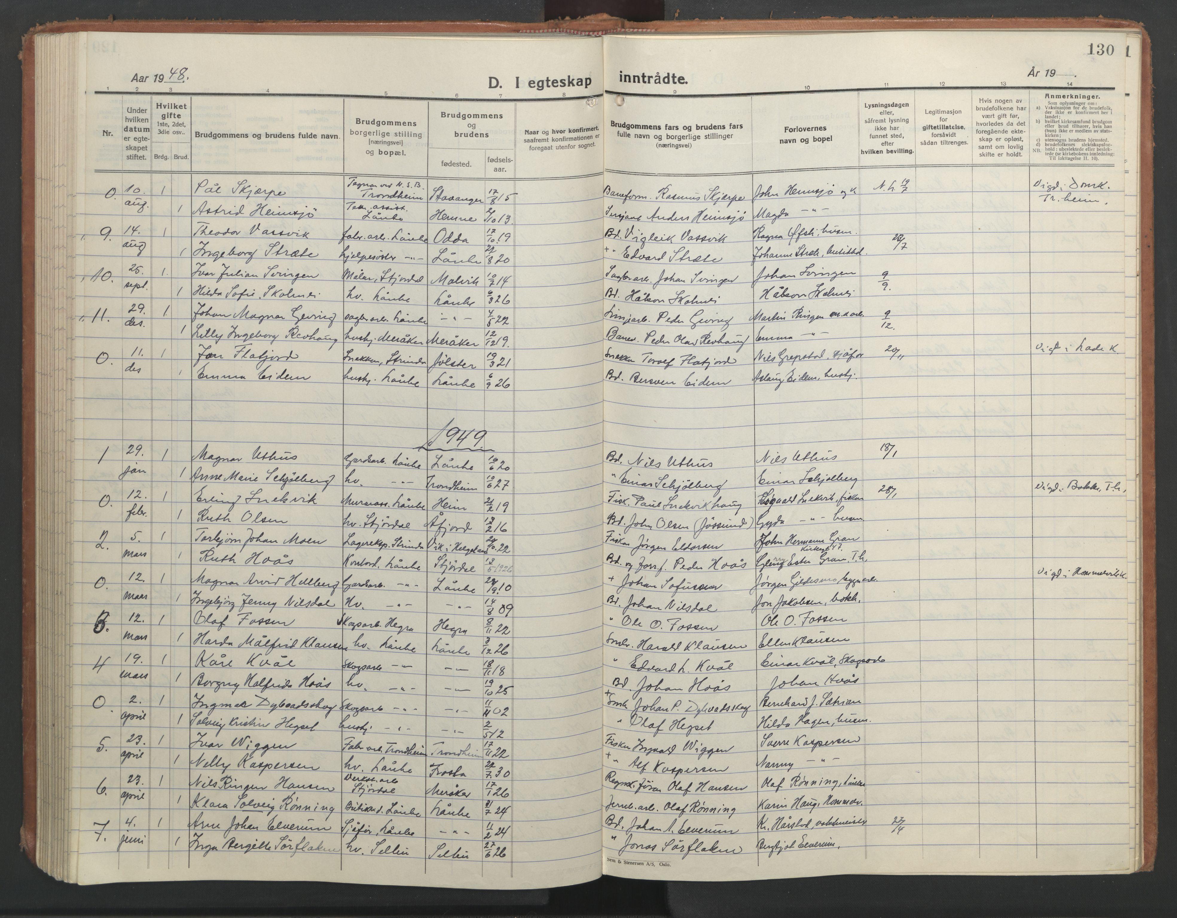 SAT, Ministerialprotokoller, klokkerbøker og fødselsregistre - Nord-Trøndelag, 710/L0097: Klokkerbok nr. 710C02, 1925-1955, s. 130