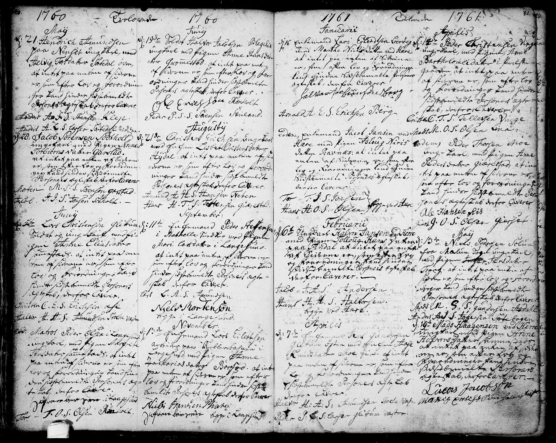 SAKO, Bamble kirkebøker, F/Fa/L0001: Ministerialbok nr. I 1, 1702-1774, s. 40-41
