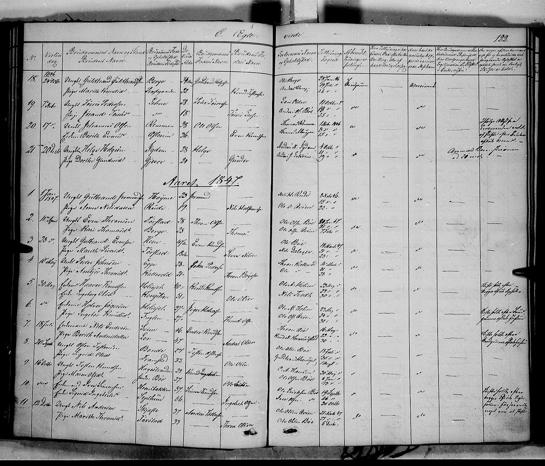 SAH, Vang prestekontor, Valdres, Ministerialbok nr. 6, 1846-1864, s. 122