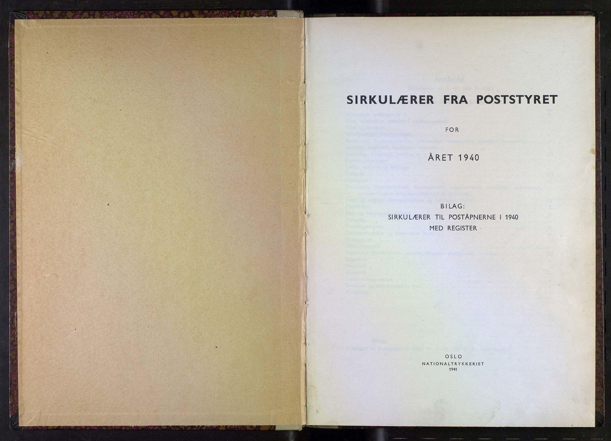NOPO, Norges Postmuseums bibliotek, -/-: Sirkulærer fra Poststyret, 1940