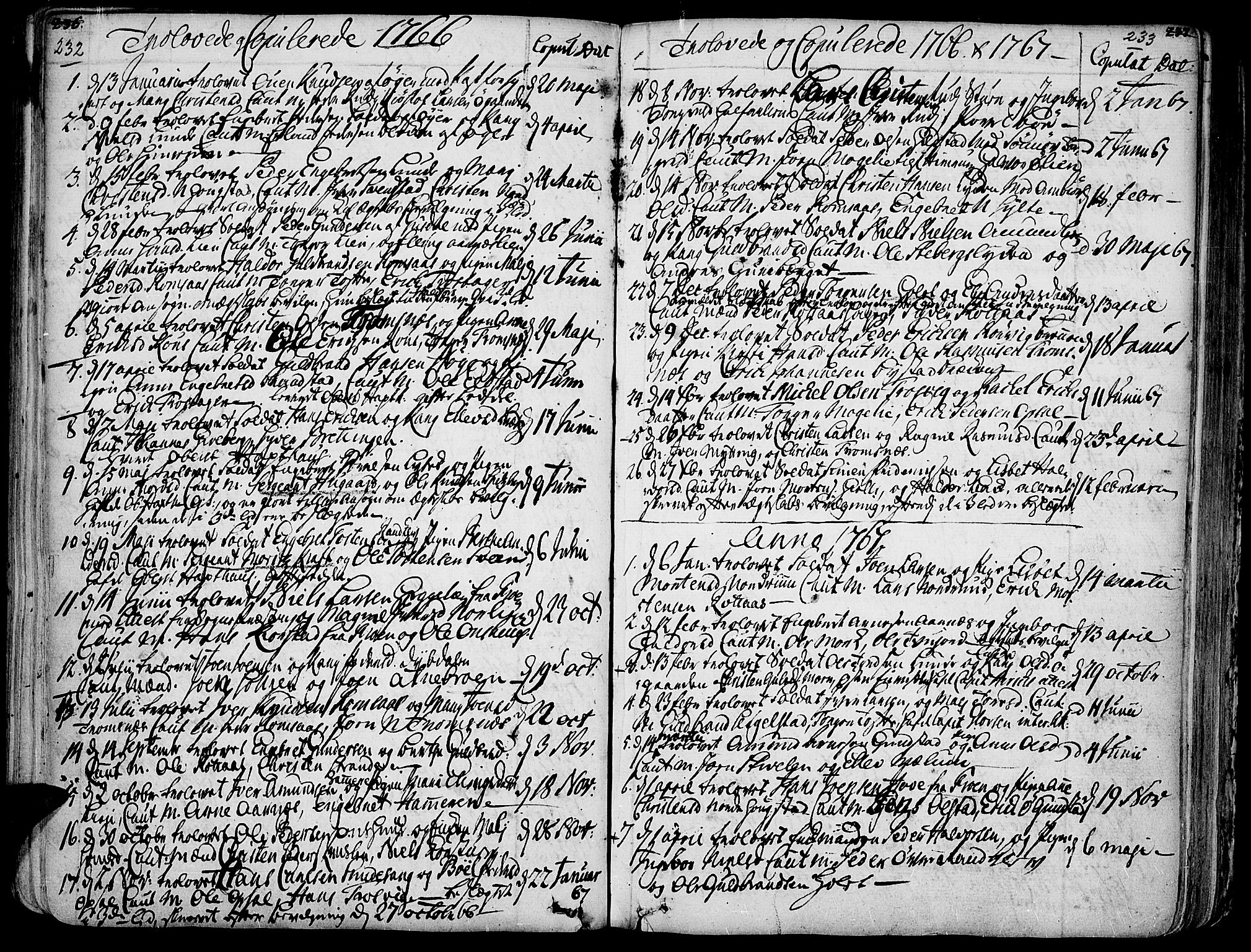 SAH, Ringebu prestekontor, Ministerialbok nr. 2, 1734-1780, s. 232-233