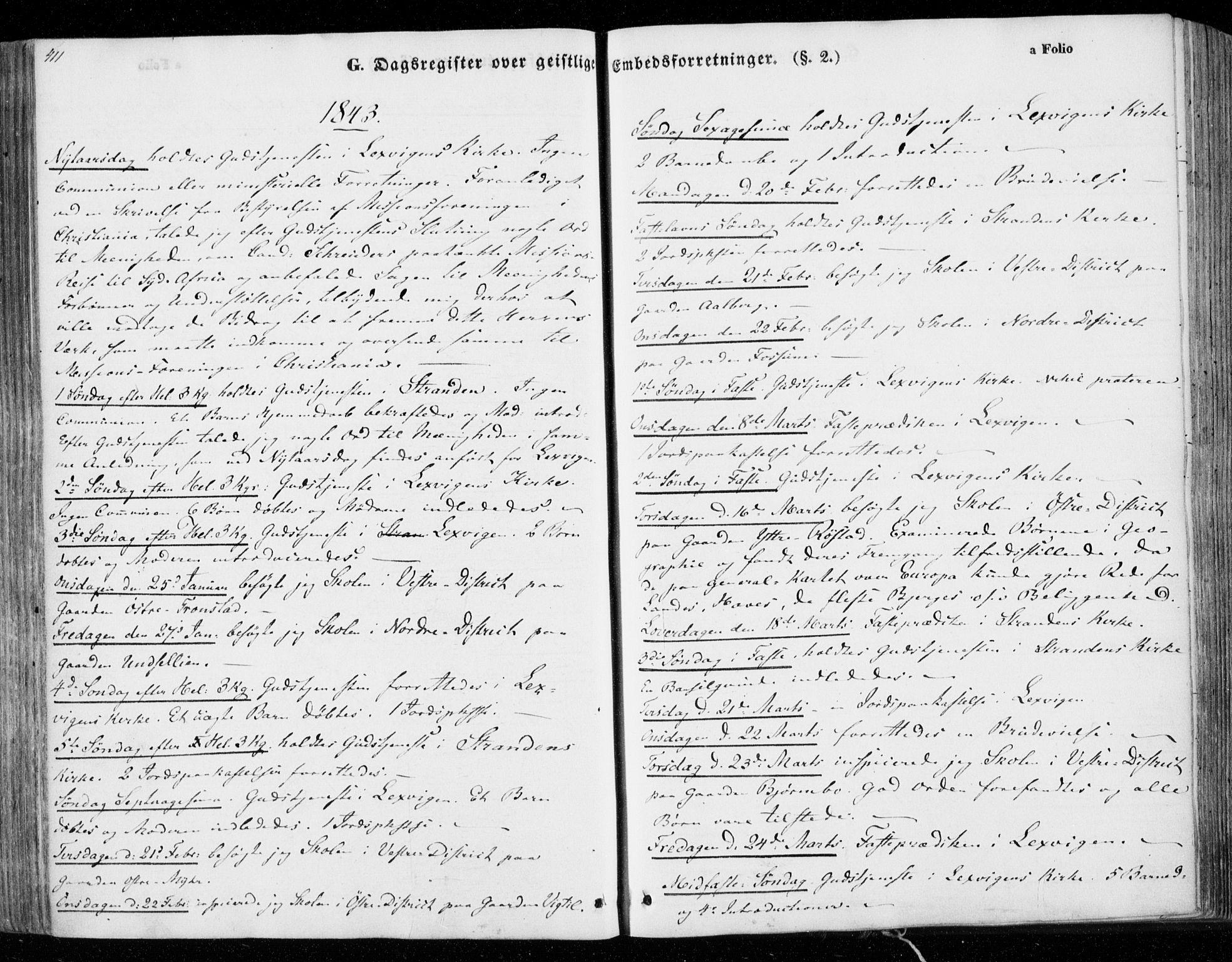 SAT, Ministerialprotokoller, klokkerbøker og fødselsregistre - Nord-Trøndelag, 701/L0007: Ministerialbok nr. 701A07 /1, 1842-1854, s. 411
