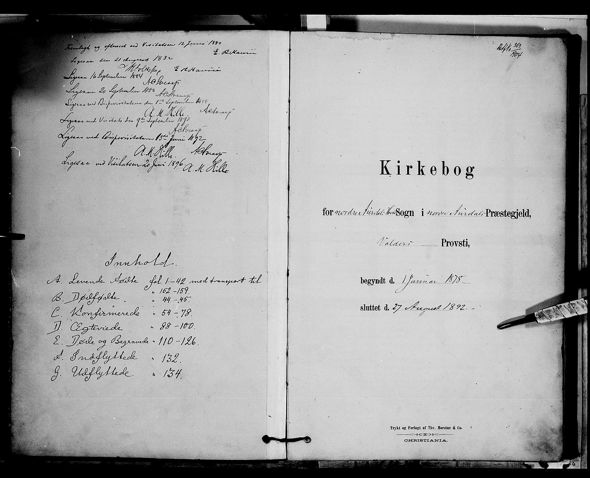 SAH, Nord-Aurdal prestekontor, Klokkerbok nr. 6, 1878-1892