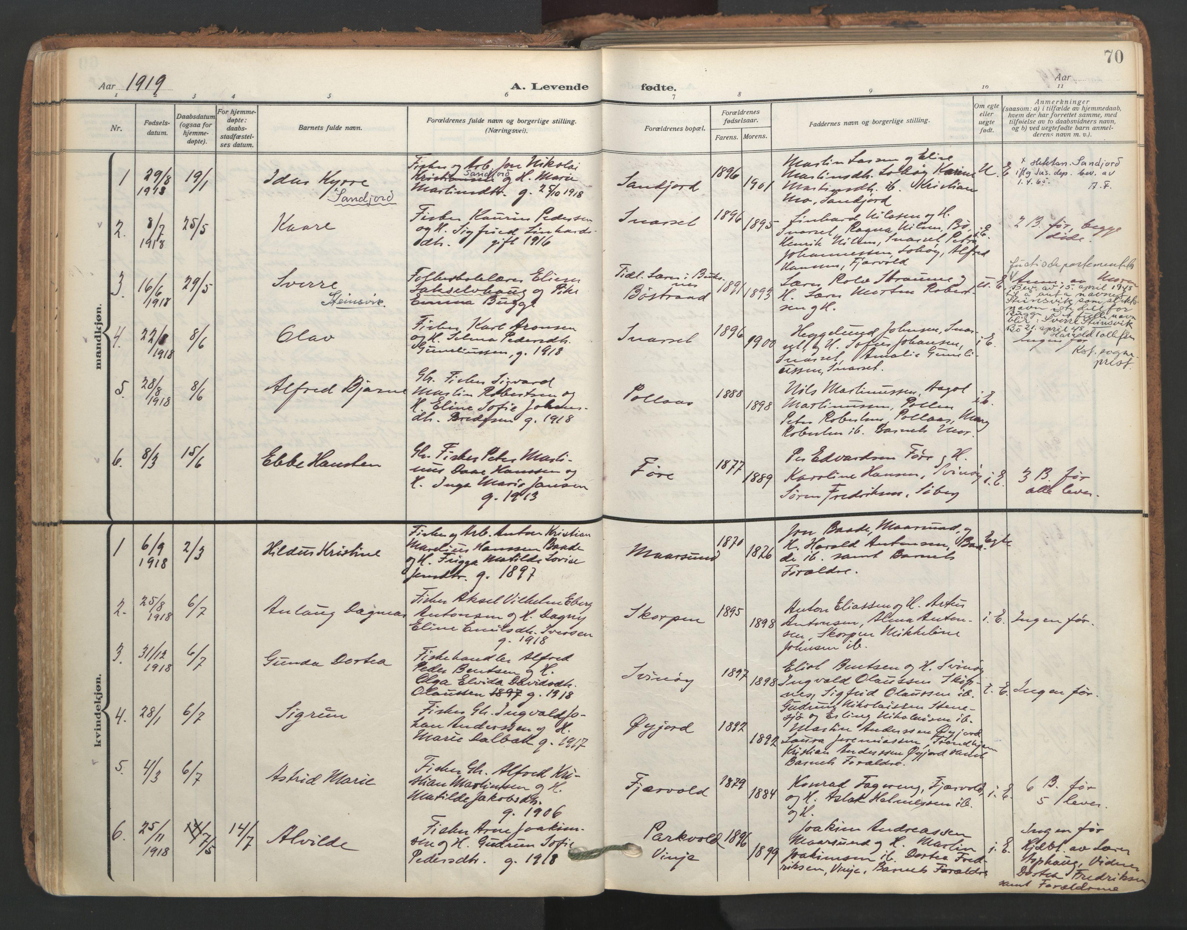 SAT, Ministerialprotokoller, klokkerbøker og fødselsregistre - Nordland, 891/L1306: Ministerialbok nr. 891A11, 1911-1927, s. 70