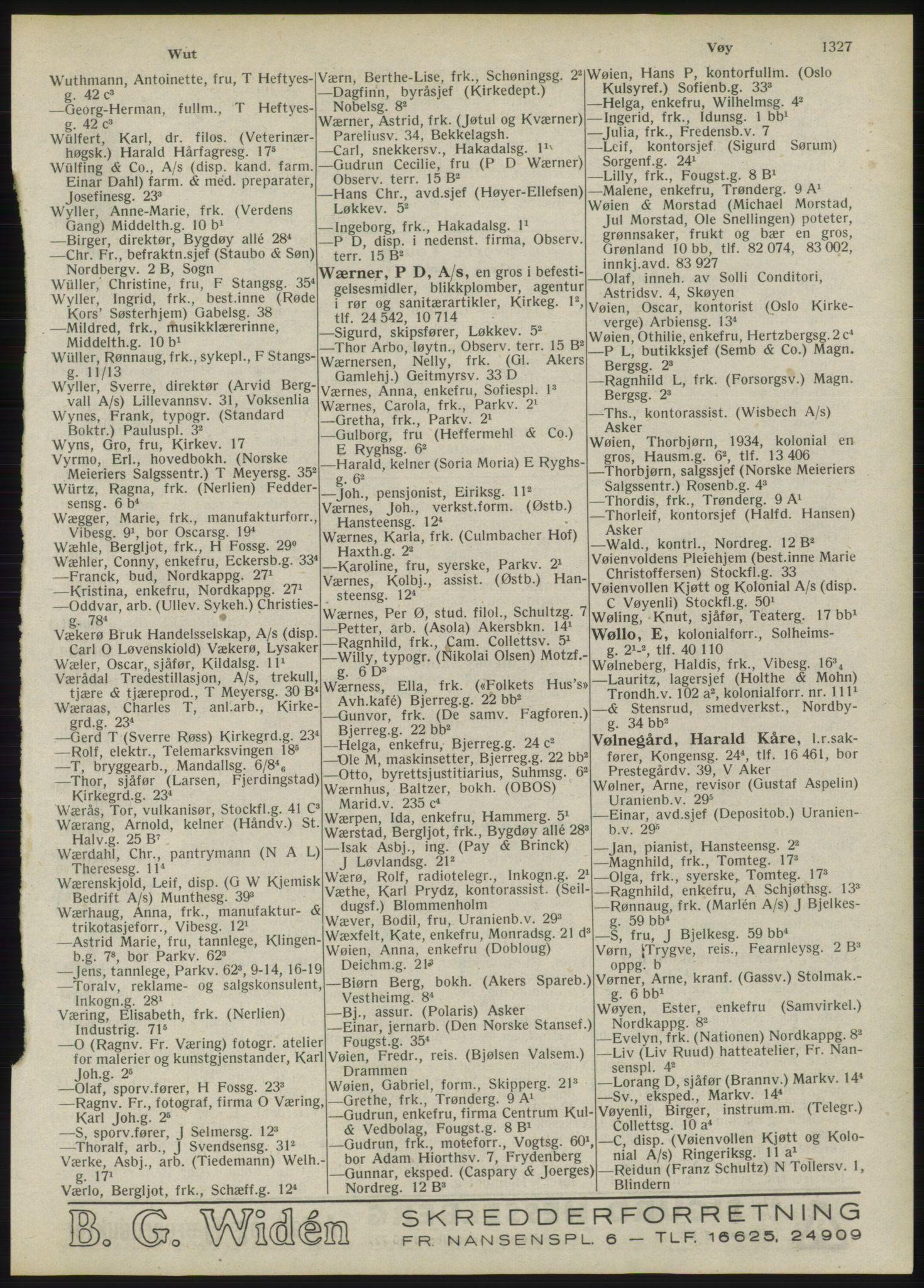 RA, Oslo adressebok (publikasjon)*, 1946, s. 1327