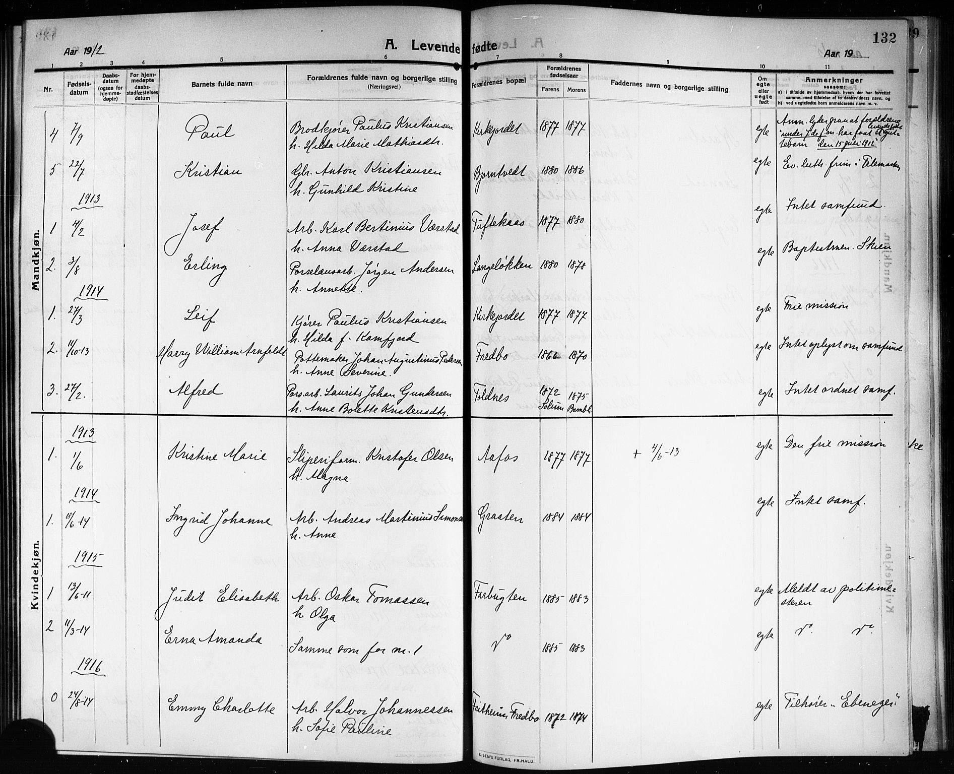 SAKO, Solum kirkebøker, G/Ga/L0009: Klokkerbok nr. I 9, 1909-1922, s. 132