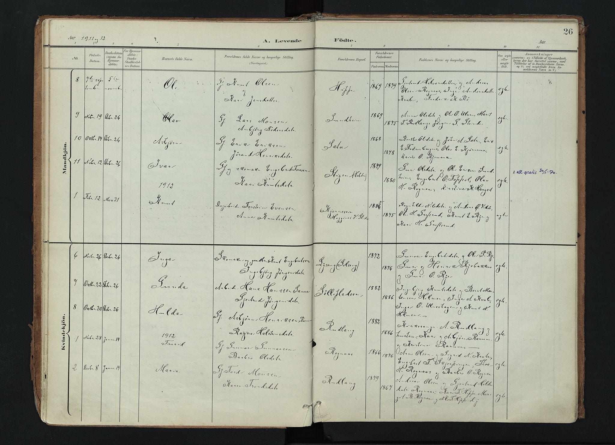 SAH, Nord-Aurdal prestekontor, Ministerialbok nr. 17, 1897-1926, s. 26