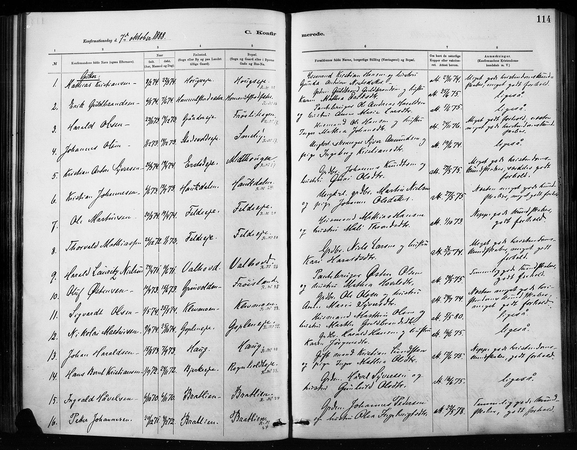 SAH, Nordre Land prestekontor, Ministerialbok nr. 4, 1882-1896, s. 114