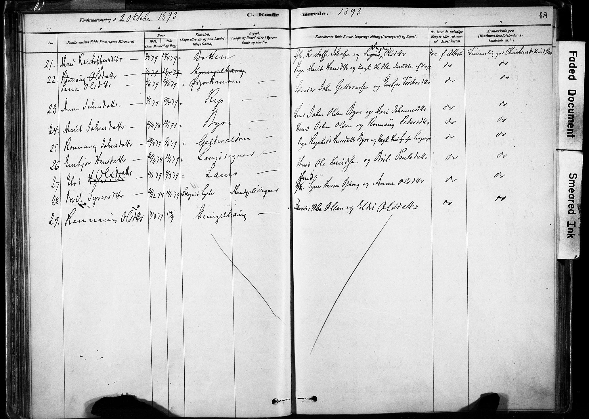 SAH, Lom prestekontor, K/L0009: Ministerialbok nr. 9, 1878-1907, s. 48