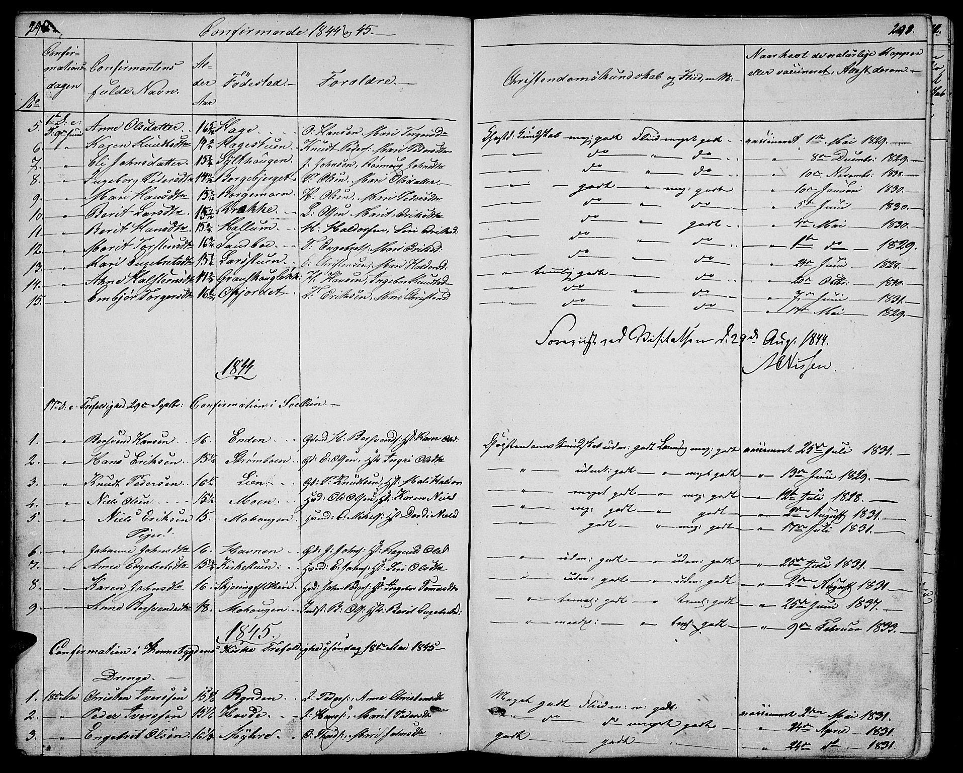 SAH, Ringebu prestekontor, Klokkerbok nr. 2, 1839-1853, s. 290-291