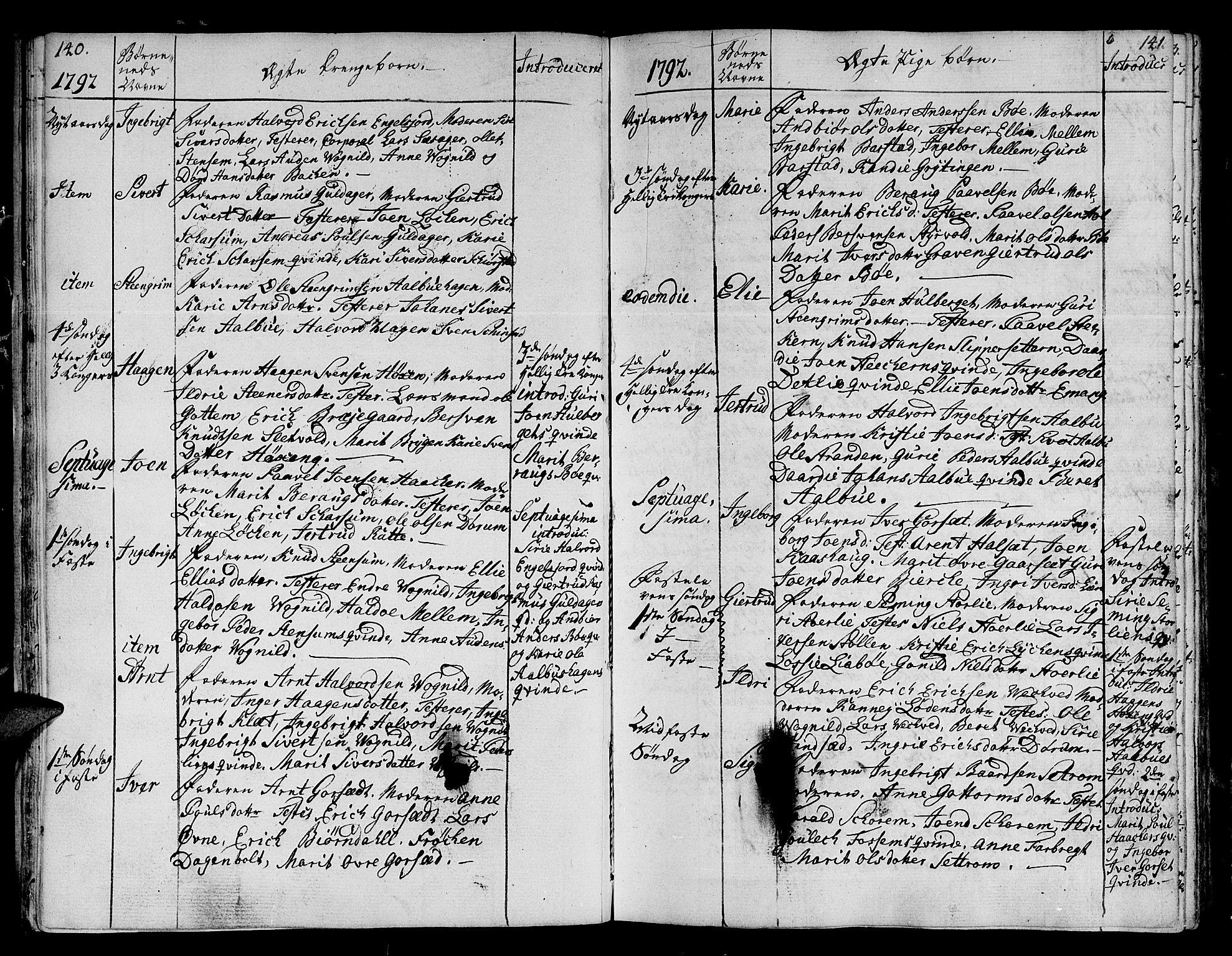 SAT, Ministerialprotokoller, klokkerbøker og fødselsregistre - Sør-Trøndelag, 678/L0893: Ministerialbok nr. 678A03, 1792-1805, s. 140-141