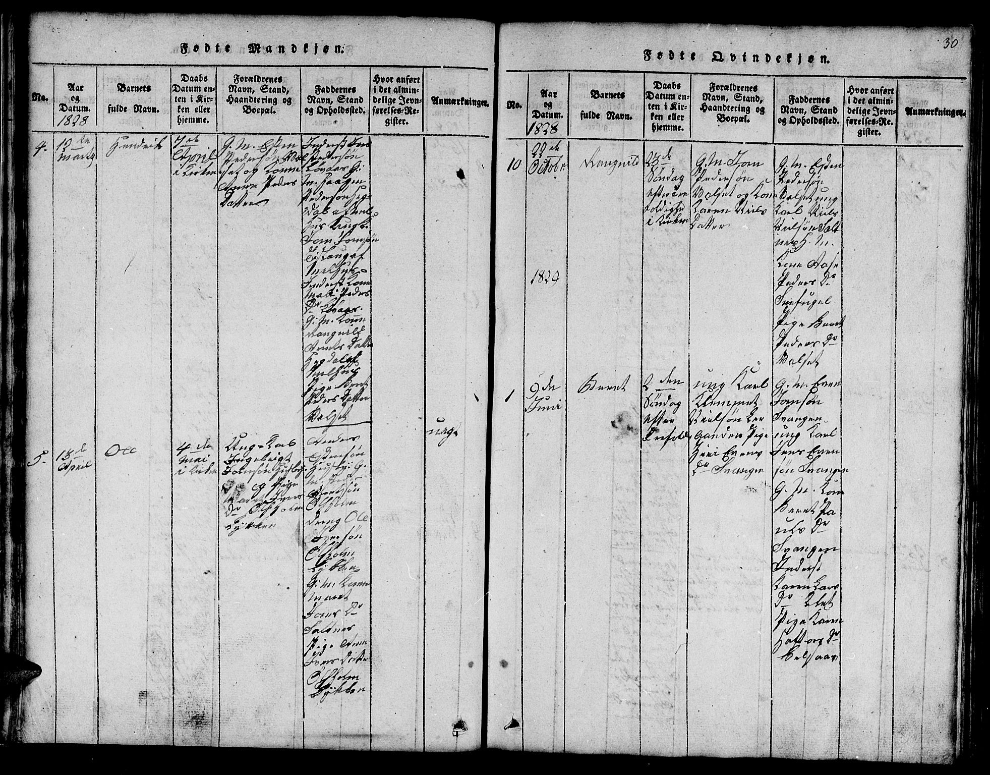 SAT, Ministerialprotokoller, klokkerbøker og fødselsregistre - Sør-Trøndelag, 666/L0788: Klokkerbok nr. 666C01, 1816-1847, s. 30