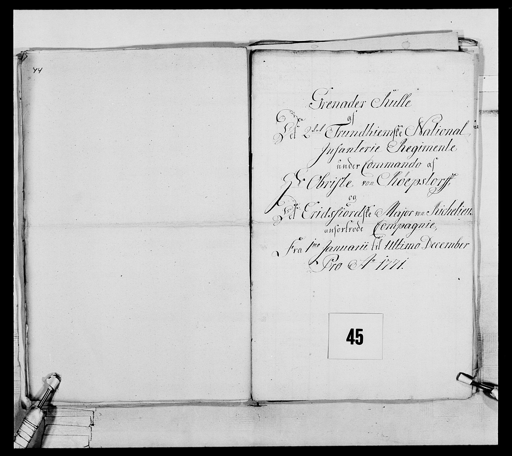 RA, Generalitets- og kommissariatskollegiet, Det kongelige norske kommissariatskollegium, E/Eh/L0076: 2. Trondheimske nasjonale infanteriregiment, 1766-1773, s. 145