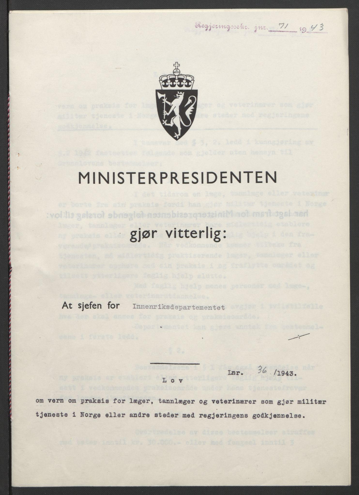 RA, NS-administrasjonen 1940-1945 (Statsrådsekretariatet, de kommisariske statsråder mm), D/Db/L0099: Lover, 1943, s. upaginert