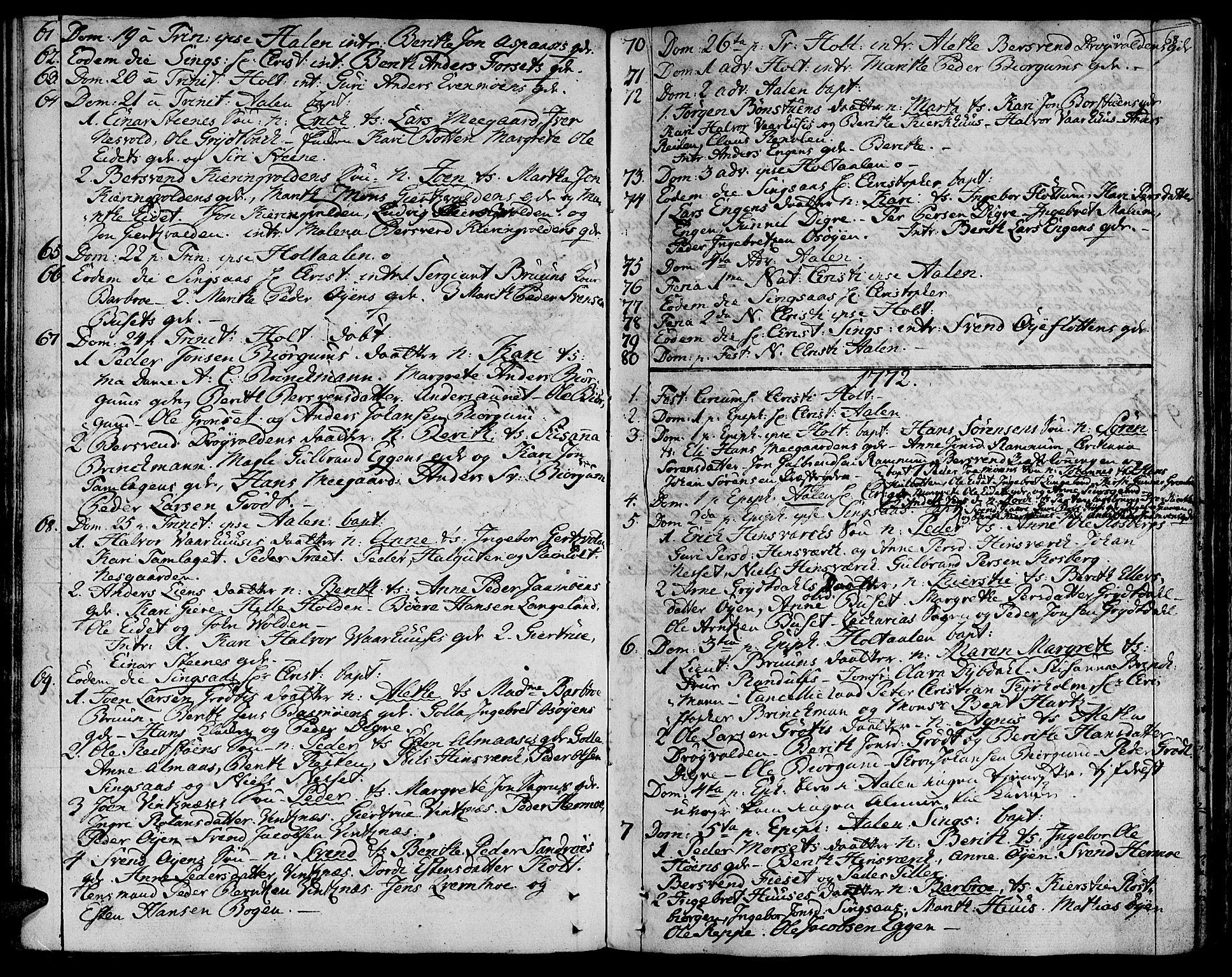 SAT, Ministerialprotokoller, klokkerbøker og fødselsregistre - Sør-Trøndelag, 685/L0952: Ministerialbok nr. 685A01, 1745-1804, s. 68