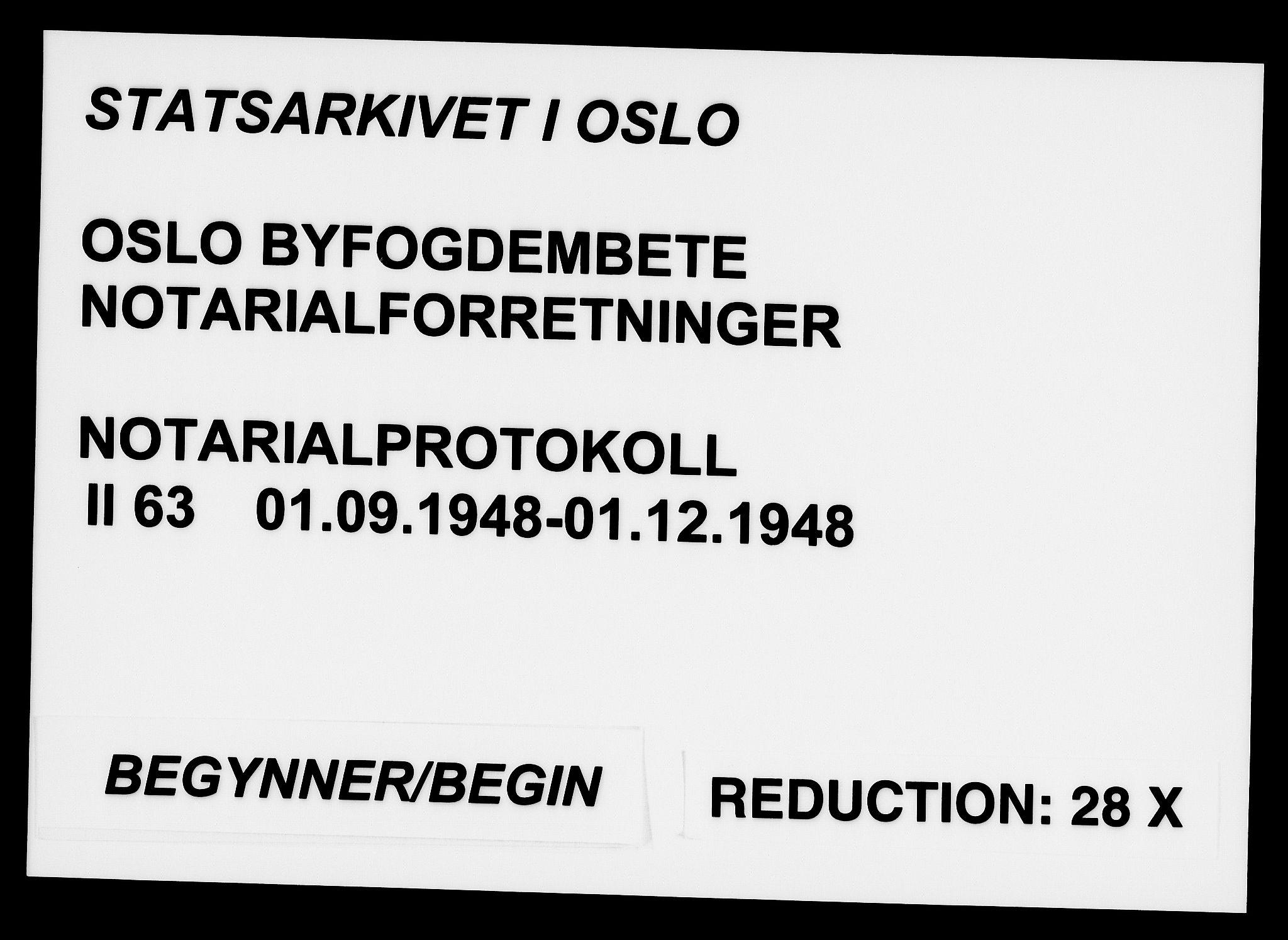 SAO, Oslo byfogd avd. I, L/Lb/Lbb/L0063: Notarialprotokoll, rekke II: Vigsler, 1948, s. upaginert