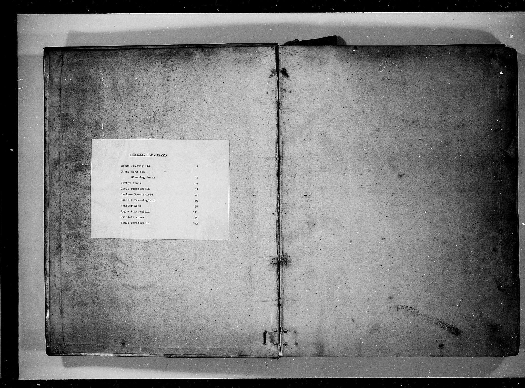 RA, Rentekammeret inntil 1814, Realistisk ordnet avdeling, N/Nb/Nbf/L0095: Moss, Onsøy, Tune og Veme eksaminasjonsprotokoll, 1723, s. upaginert