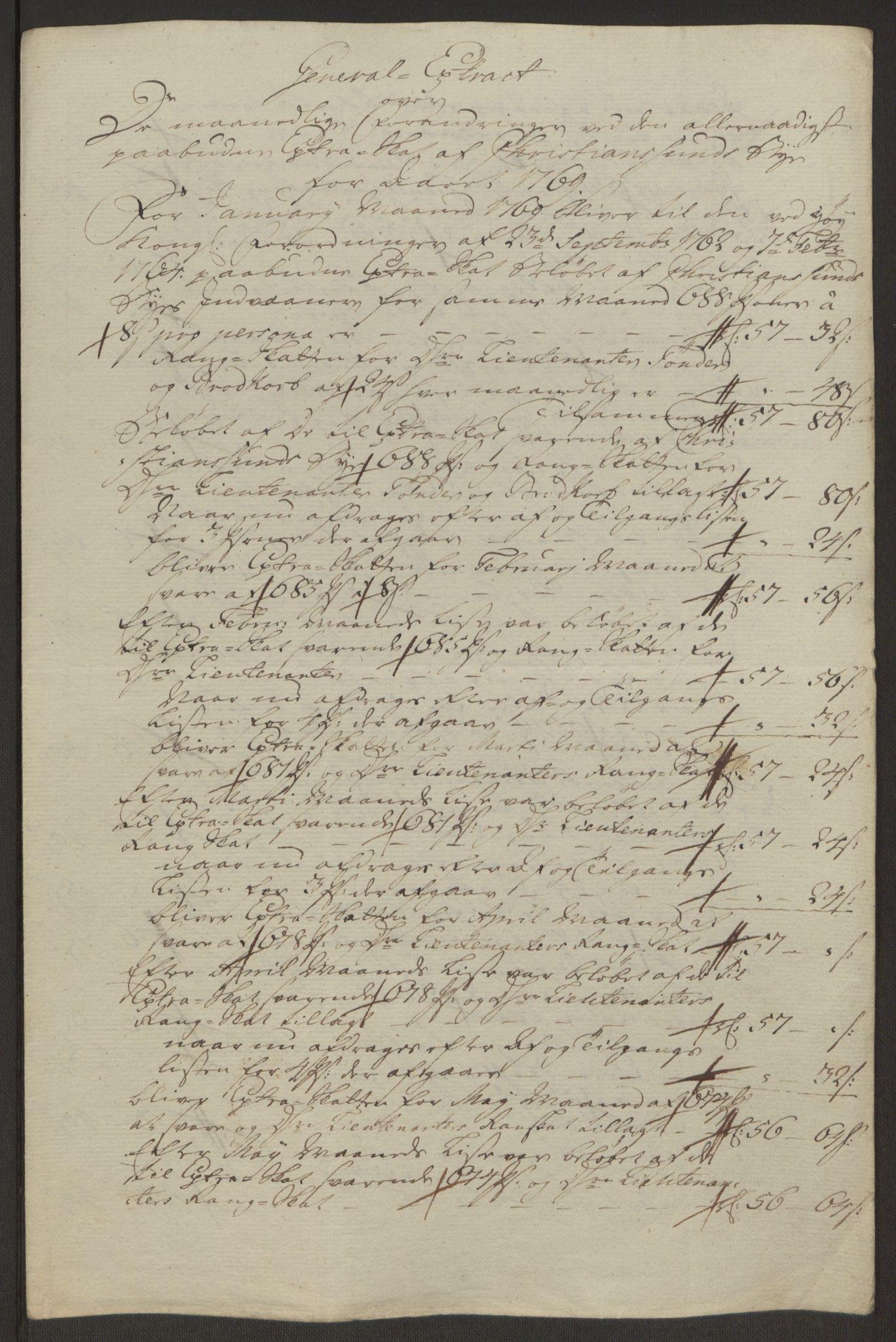 RA, Rentekammeret inntil 1814, Reviderte regnskaper, Byregnskaper, R/Rr/L0495: [R1] Kontribusjonsregnskap, 1762-1772, s. 219