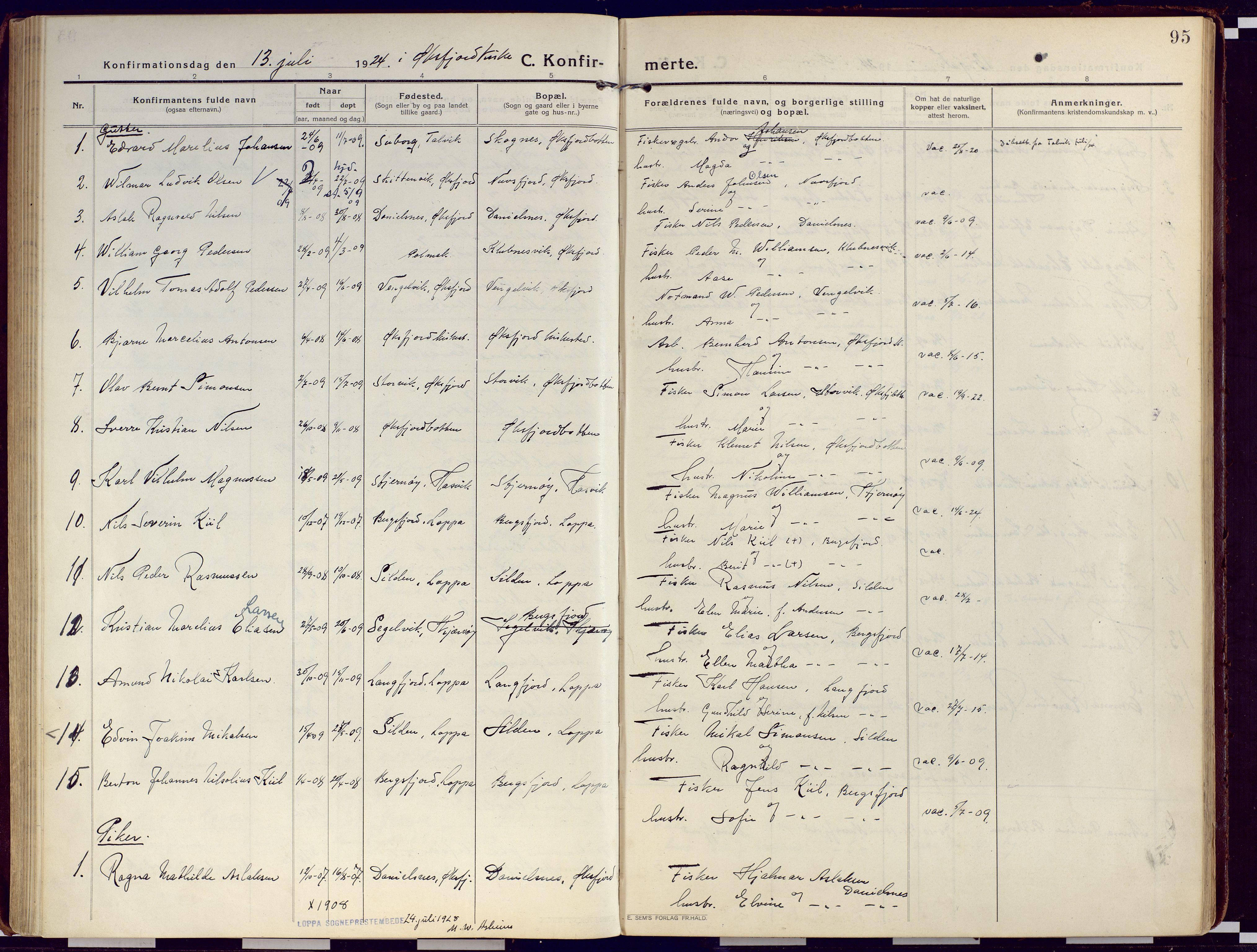 SATØ, Loppa sokneprestkontor, H/Ha/L0012kirke: Ministerialbok nr. 12, 1917-1932, s. 95