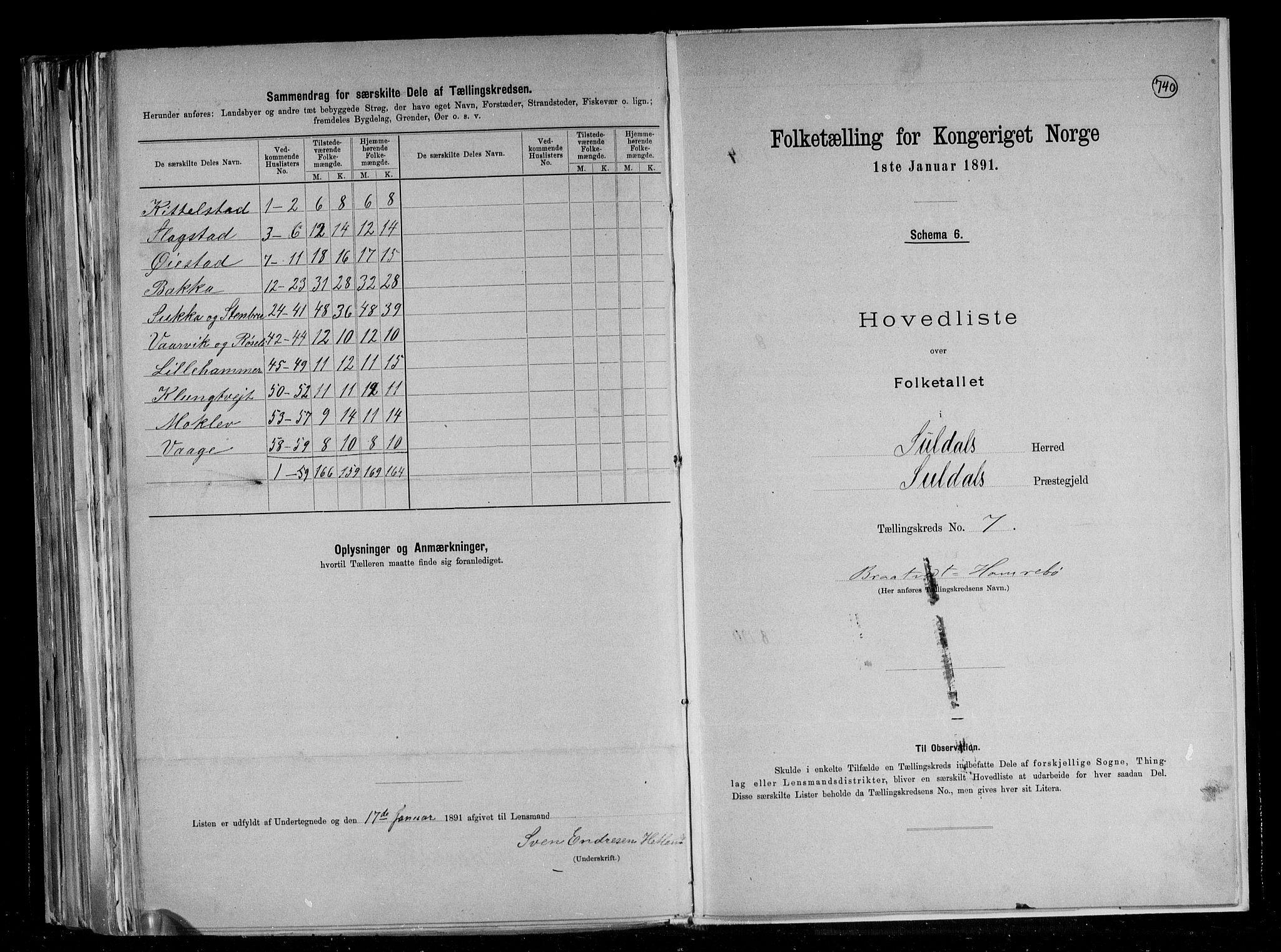 RA, Folketelling 1891 for 1134 Suldal herred, 1891, s. 17