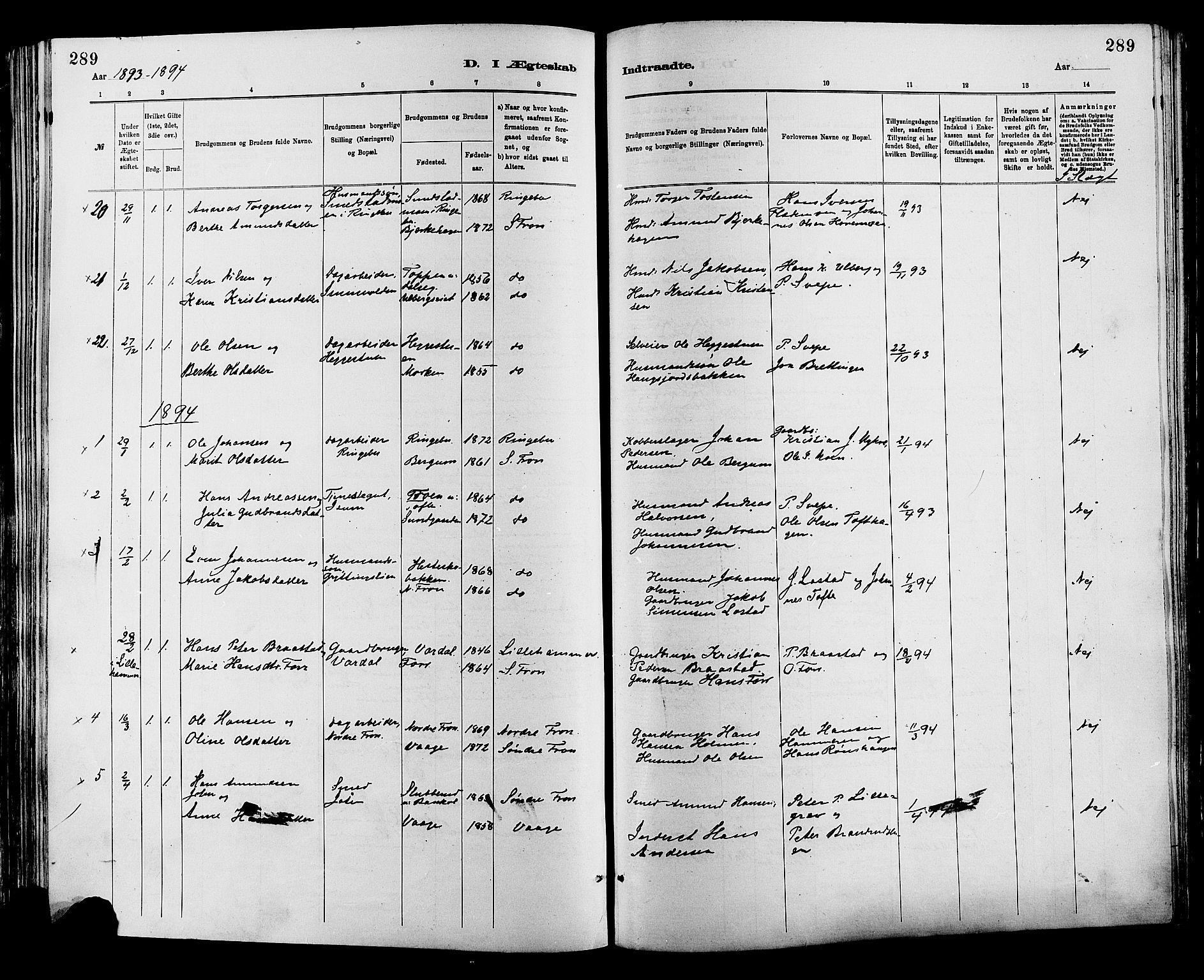 SAH, Sør-Fron prestekontor, H/Ha/Haa/L0003: Ministerialbok nr. 3, 1881-1897, s. 289
