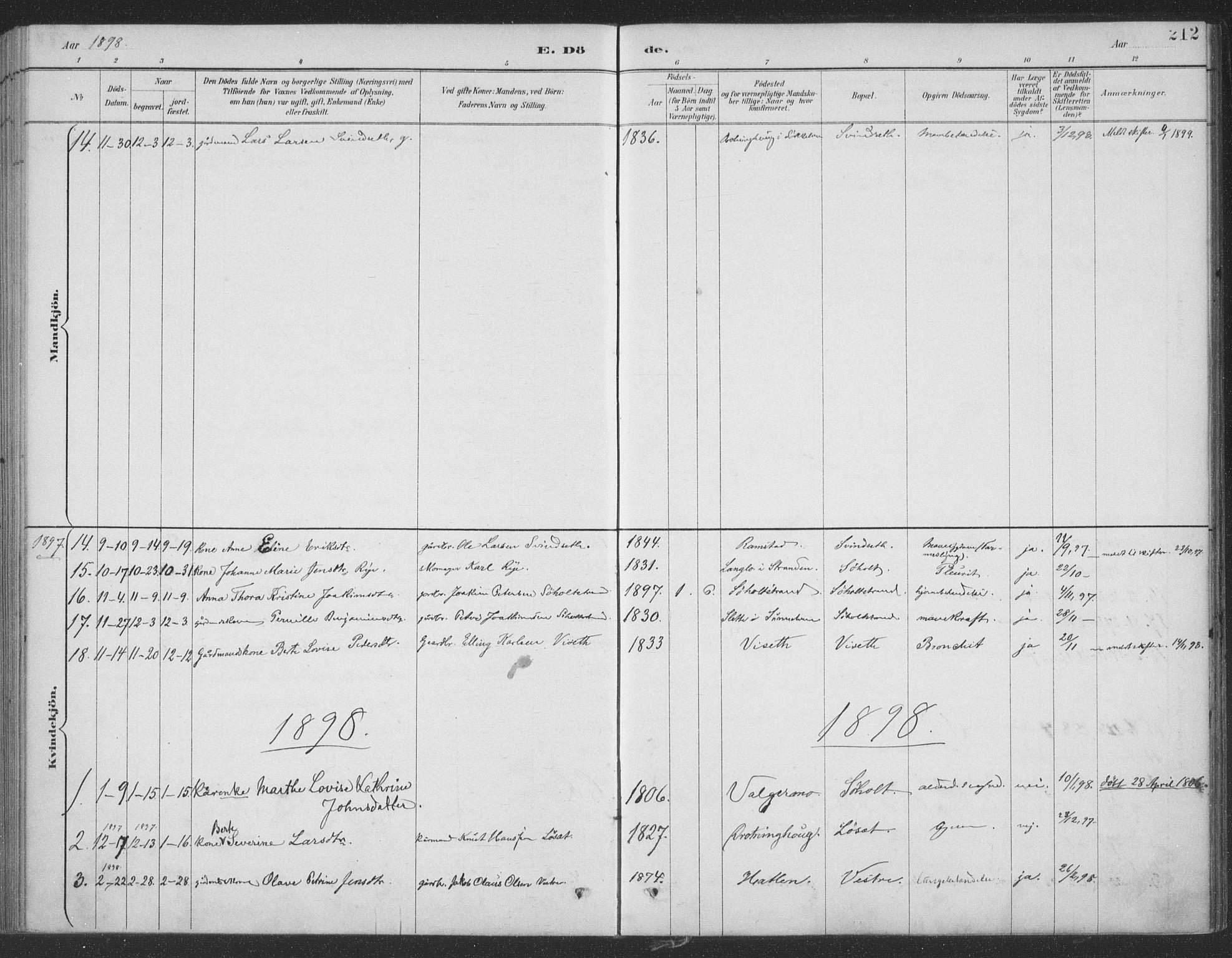 SAT, Ministerialprotokoller, klokkerbøker og fødselsregistre - Møre og Romsdal, 522/L0316: Ministerialbok nr. 522A11, 1890-1911, s. 212