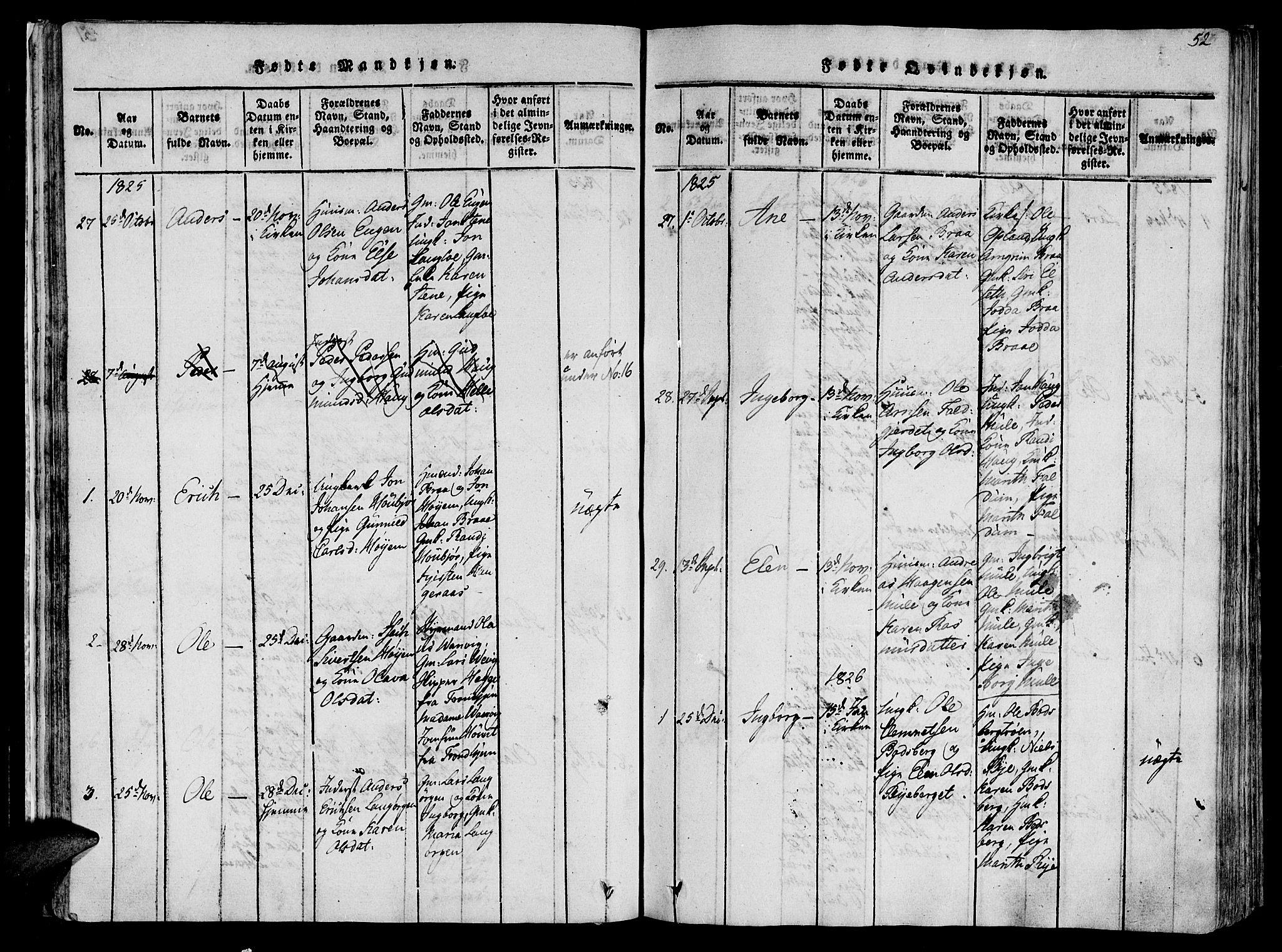 SAT, Ministerialprotokoller, klokkerbøker og fødselsregistre - Sør-Trøndelag, 612/L0372: Ministerialbok nr. 612A06 /1, 1816-1828, s. 52