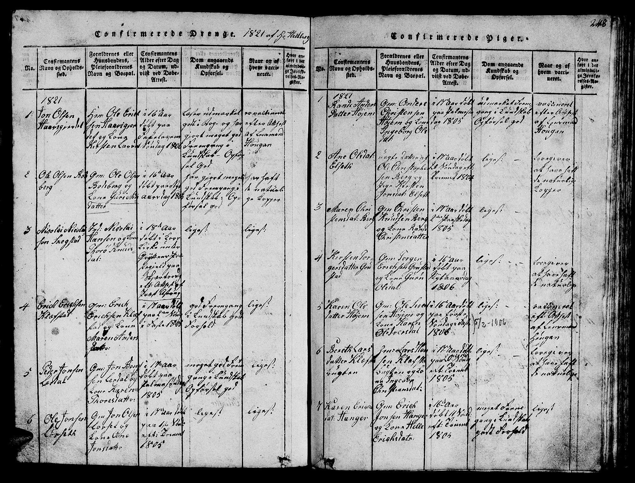 SAT, Ministerialprotokoller, klokkerbøker og fødselsregistre - Sør-Trøndelag, 612/L0385: Klokkerbok nr. 612C01, 1816-1845, s. 248