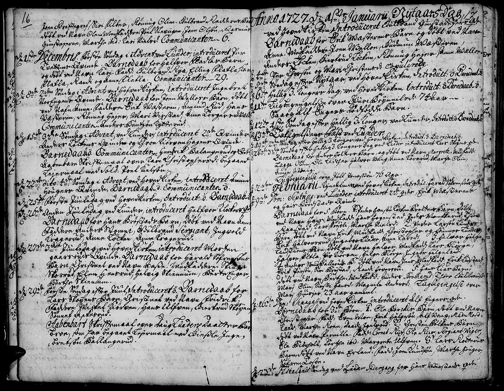 SAH, Jevnaker prestekontor, Ministerialbok nr. 2, 1725-1751, s. 16-17