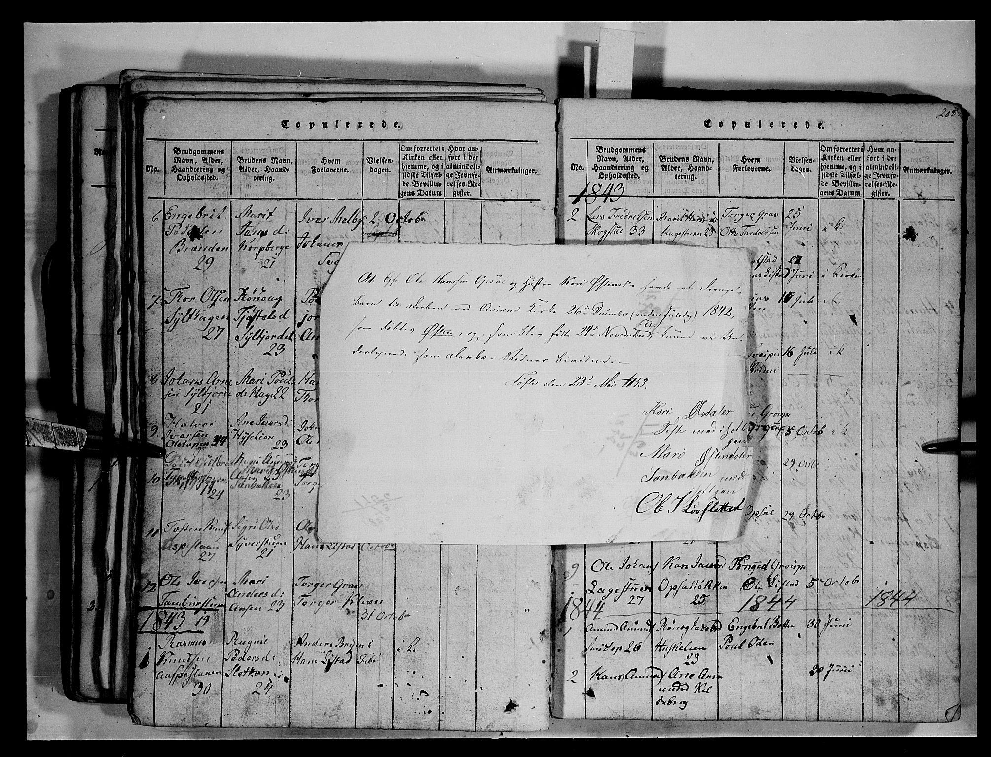 SAH, Fron prestekontor, H/Ha/Hab/L0003: Klokkerbok nr. 3, 1816-1850, s. 203