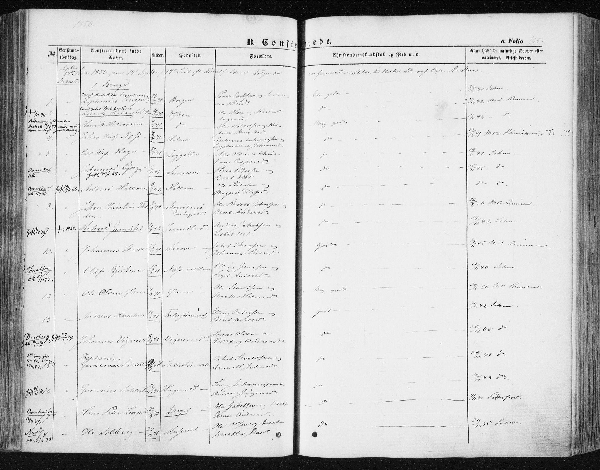 SAT, Ministerialprotokoller, klokkerbøker og fødselsregistre - Nord-Trøndelag, 723/L0240: Ministerialbok nr. 723A09, 1852-1860, s. 165