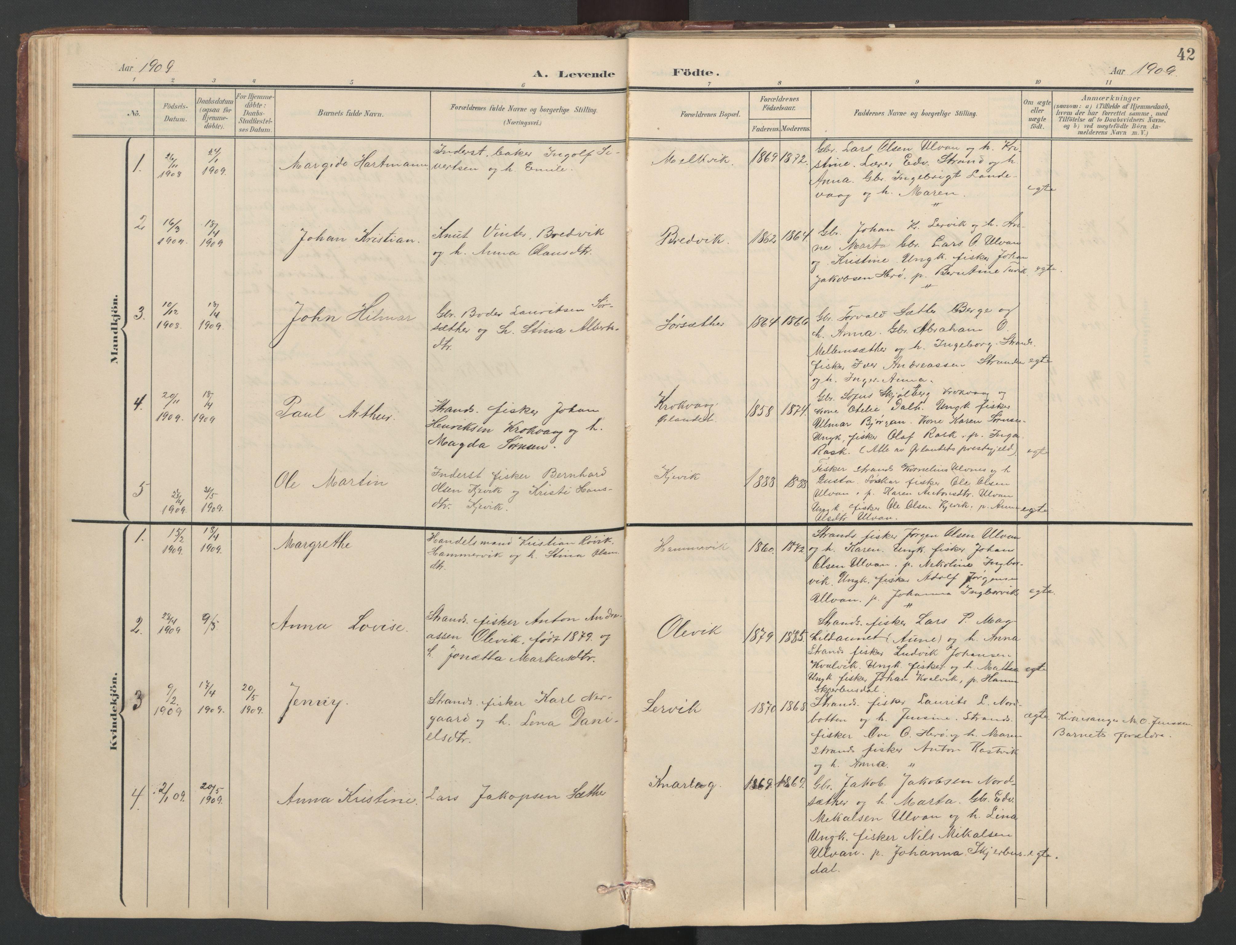 SAT, Ministerialprotokoller, klokkerbøker og fødselsregistre - Sør-Trøndelag, 638/L0571: Klokkerbok nr. 638C03, 1901-1930, s. 42