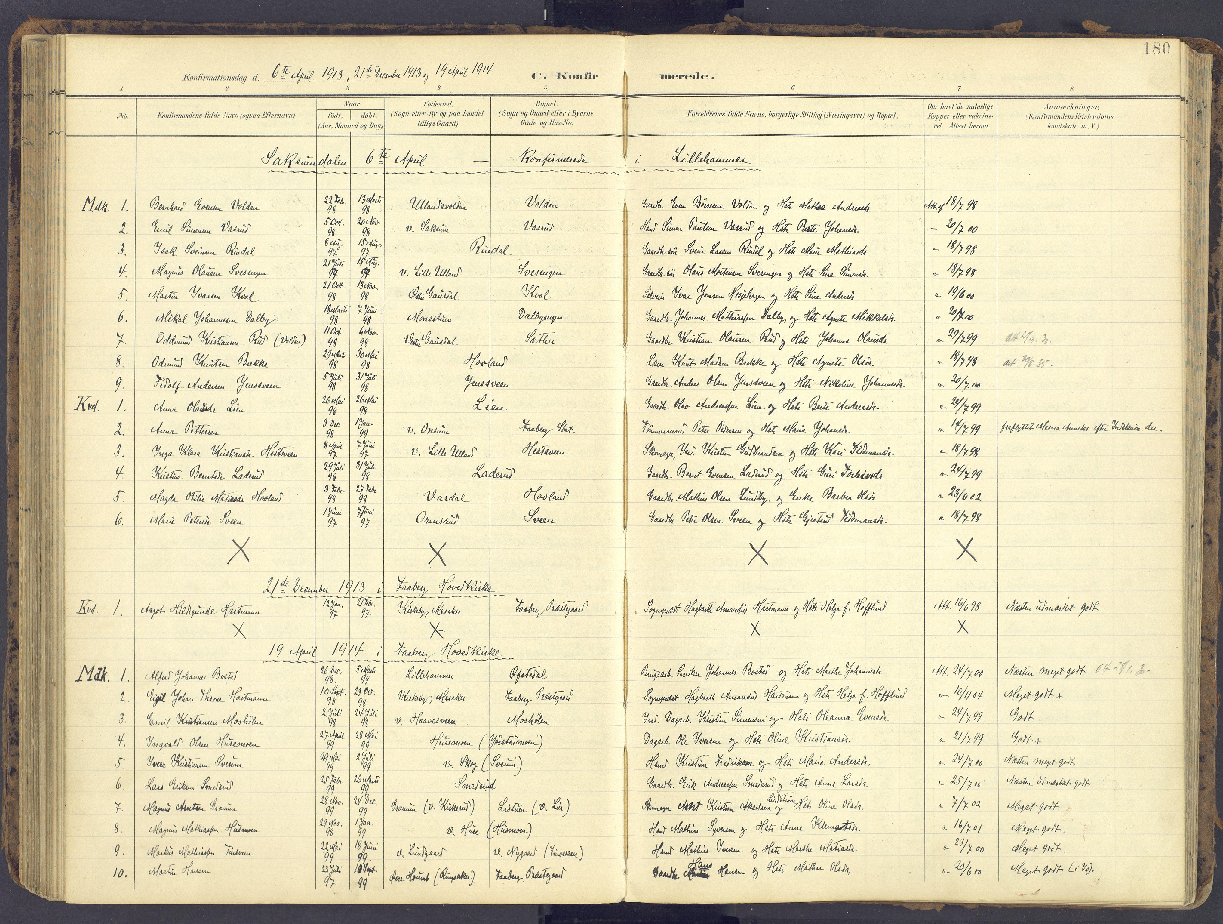 SAH, Fåberg prestekontor, Ministerialbok nr. 12, 1899-1915, s. 180