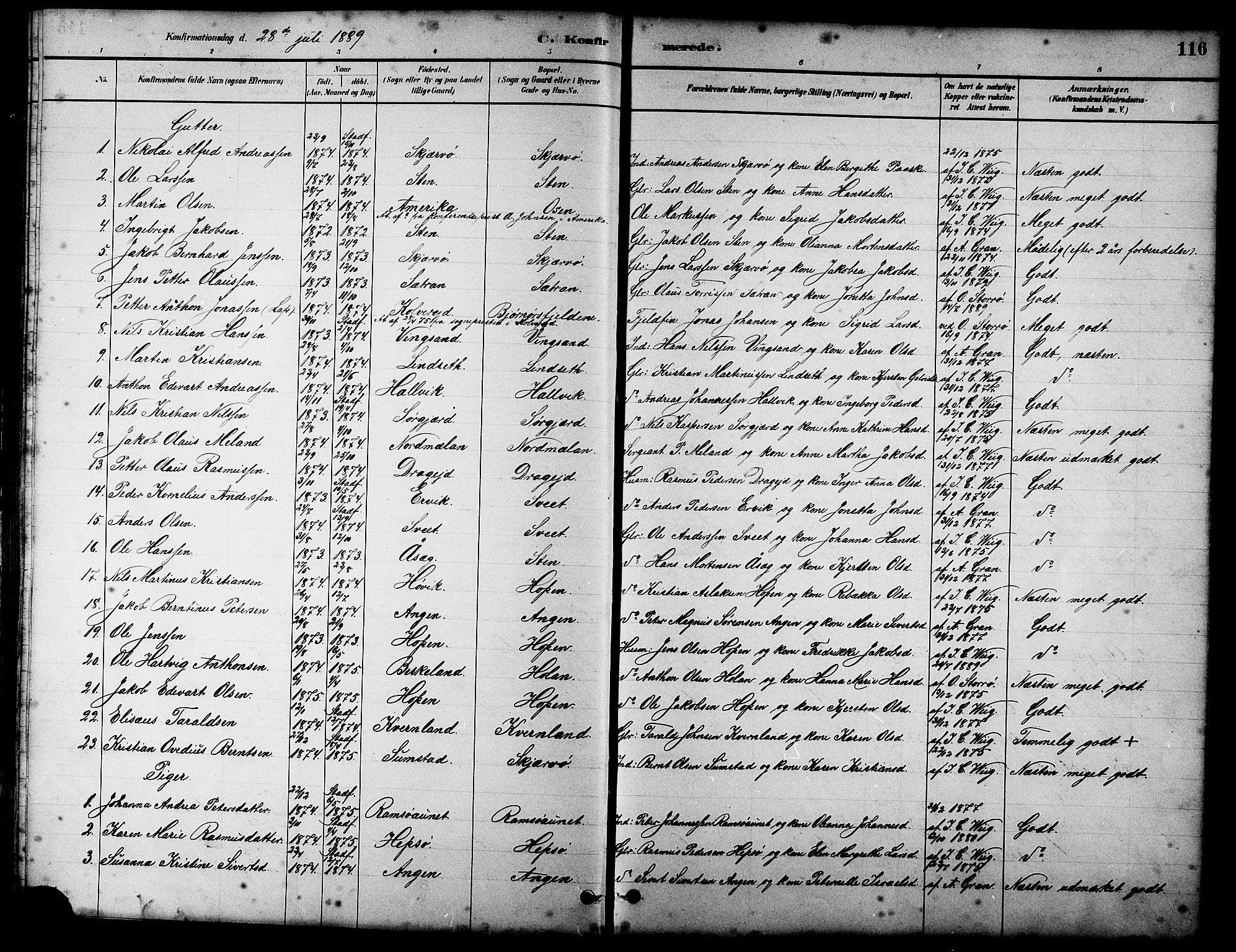 SAT, Ministerialprotokoller, klokkerbøker og fødselsregistre - Sør-Trøndelag, 658/L0726: Klokkerbok nr. 658C02, 1883-1908, s. 116