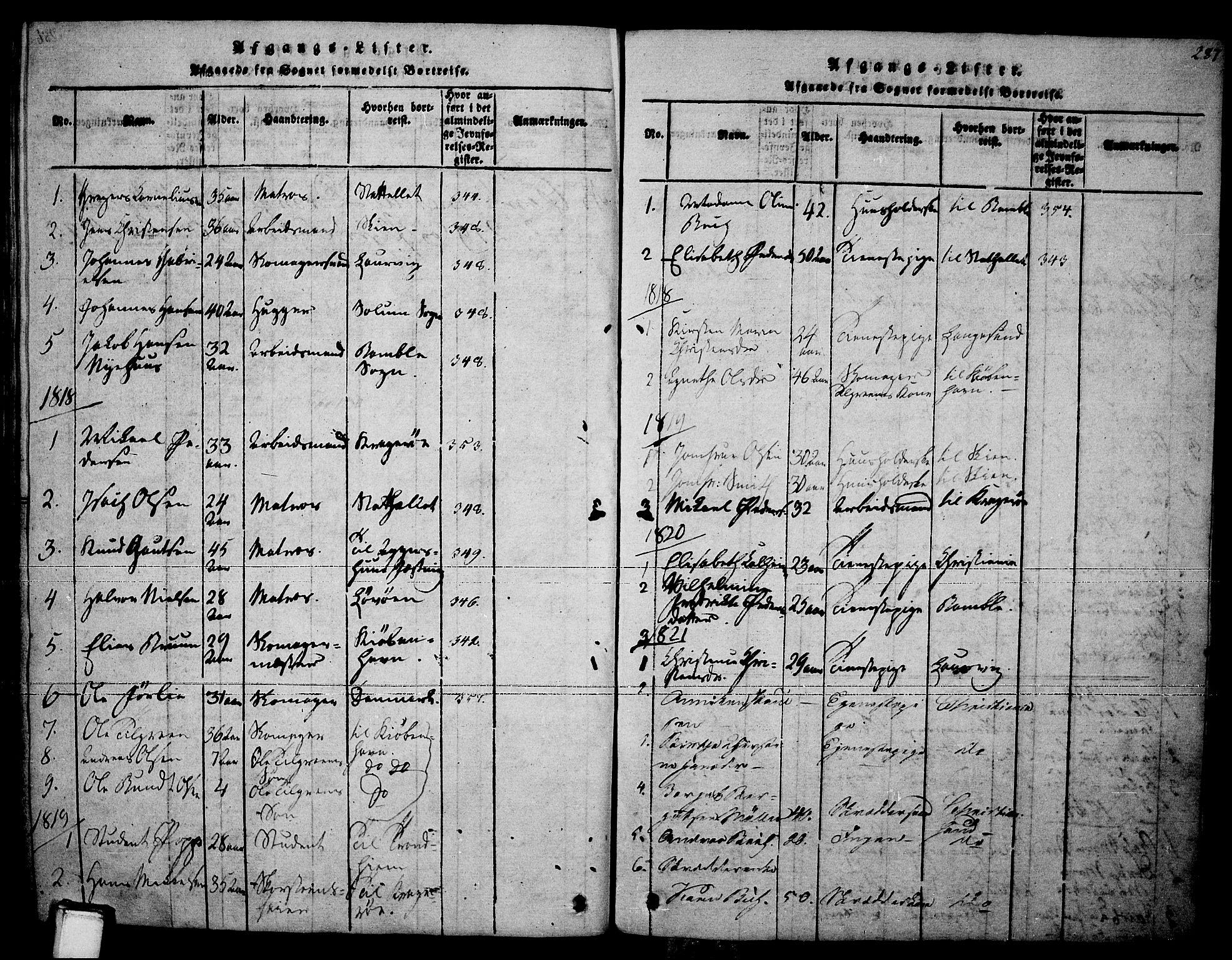 SAKO, Brevik kirkebøker, F/Fa/L0004: Ministerialbok nr. 4, 1814-1846, s. 287