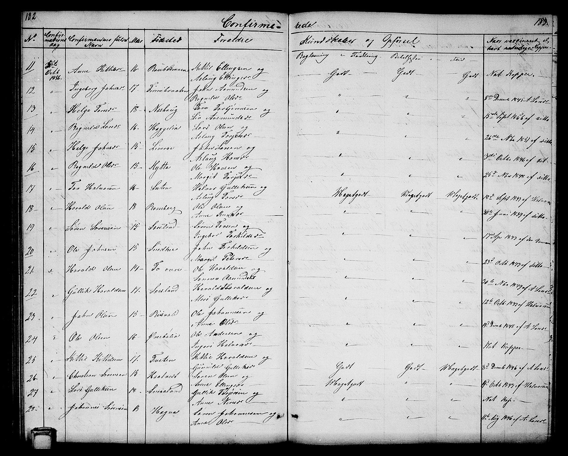 SAKO, Hjartdal kirkebøker, G/Ga/L0002: Klokkerbok nr. I 2, 1854-1888, s. 182-183