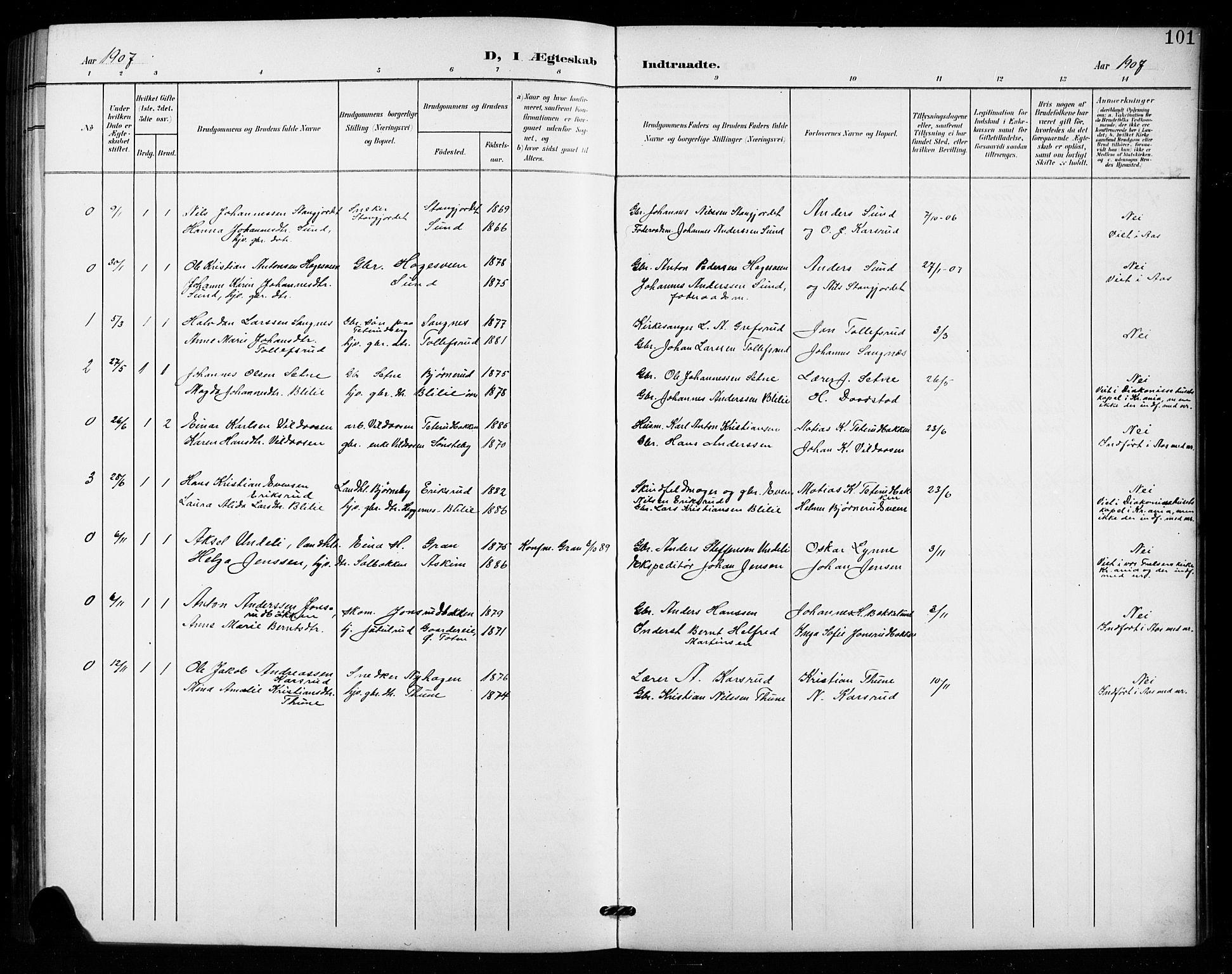 SAH, Vestre Toten prestekontor, Klokkerbok nr. 16, 1901-1915, s. 101