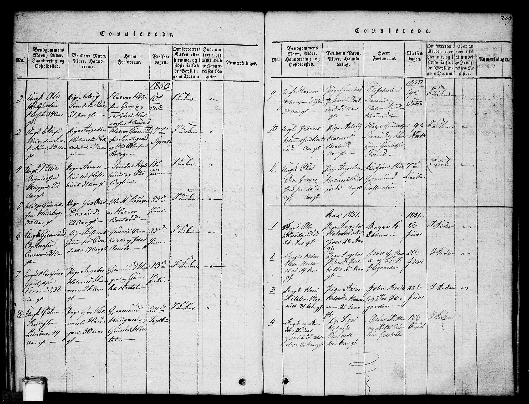 SAKO, Gransherad kirkebøker, G/Gb/L0001: Klokkerbok nr. II 1, 1815-1860, s. 209