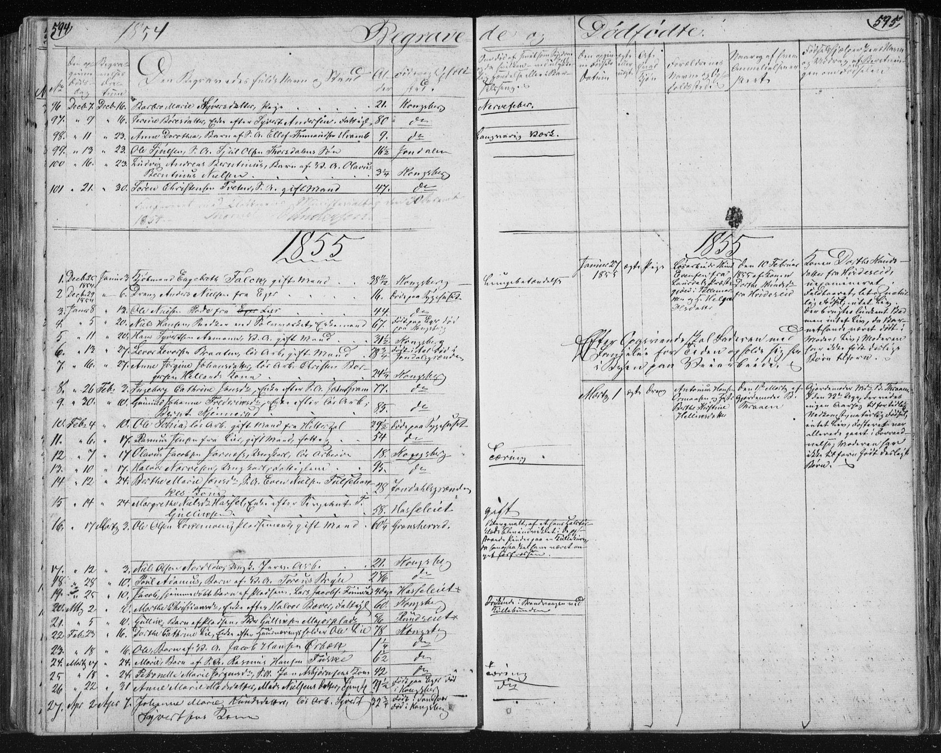 SAKO, Kongsberg kirkebøker, F/Fa/L0009: Ministerialbok nr. I 9, 1839-1858, s. 594-595