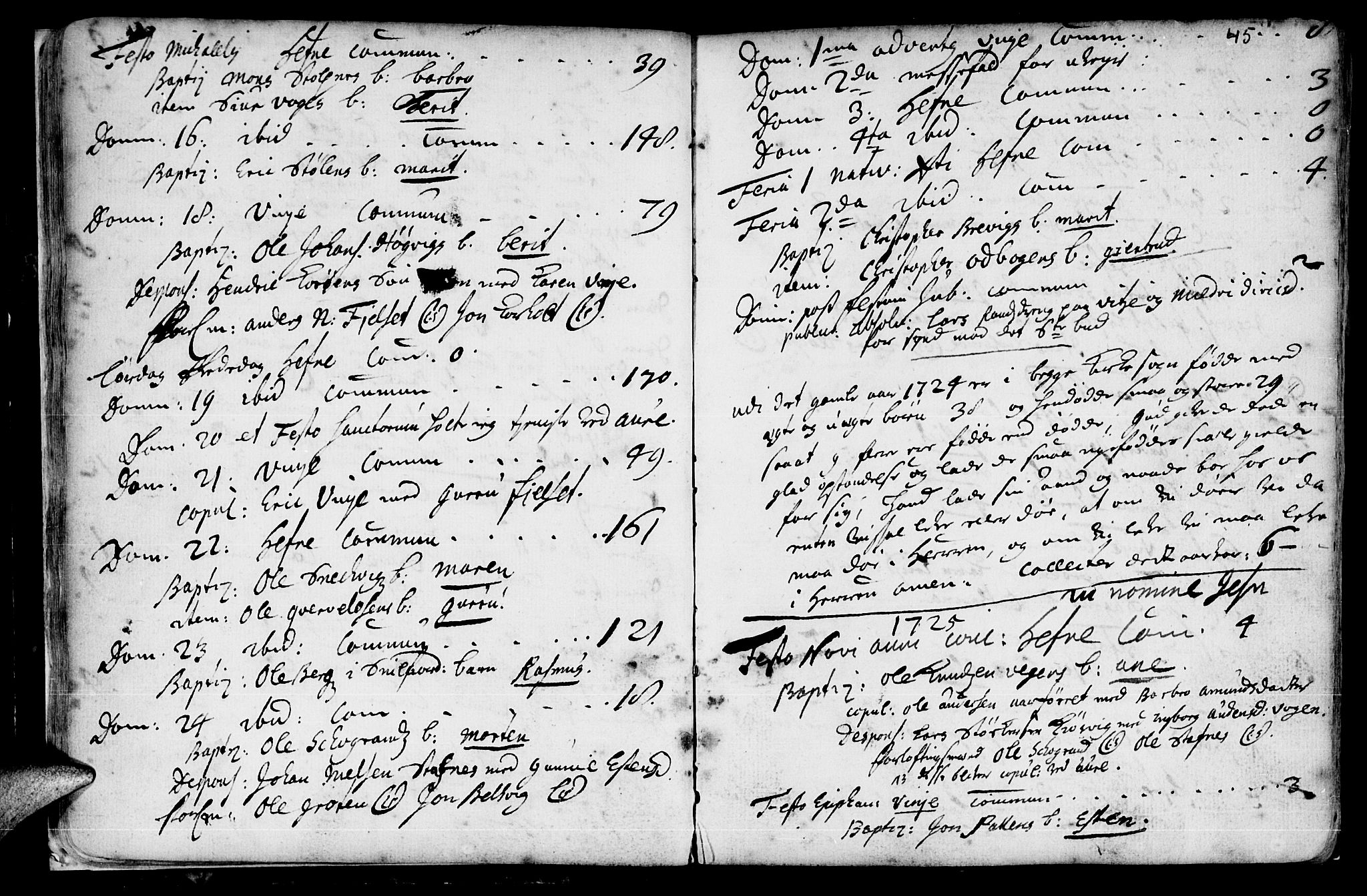SAT, Ministerialprotokoller, klokkerbøker og fødselsregistre - Sør-Trøndelag, 630/L0488: Ministerialbok nr. 630A01, 1717-1756, s. 44-45