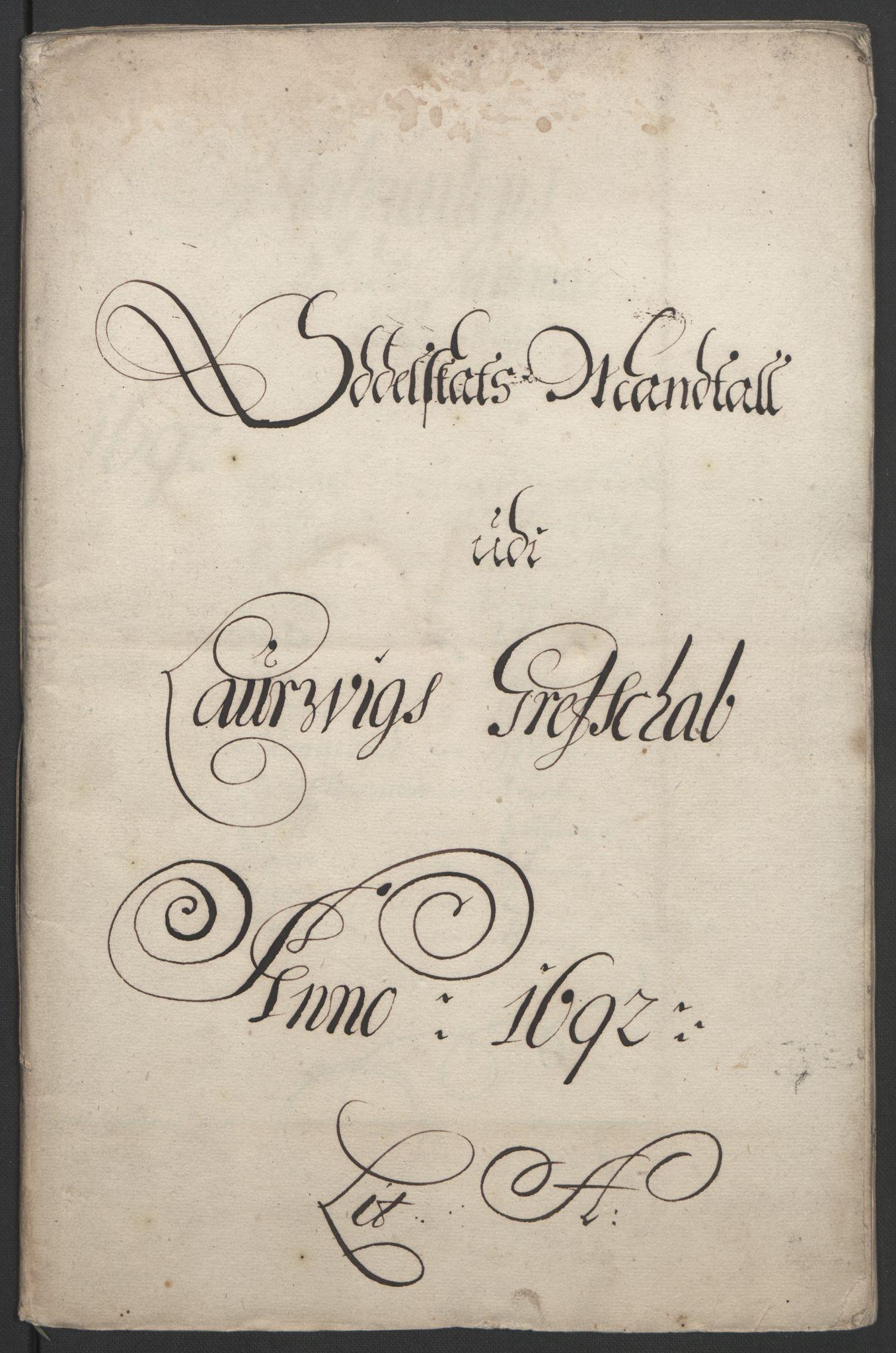 RA, Rentekammeret inntil 1814, Reviderte regnskaper, Fogderegnskap, R33/L1973: Fogderegnskap Larvik grevskap, 1692, s. 44