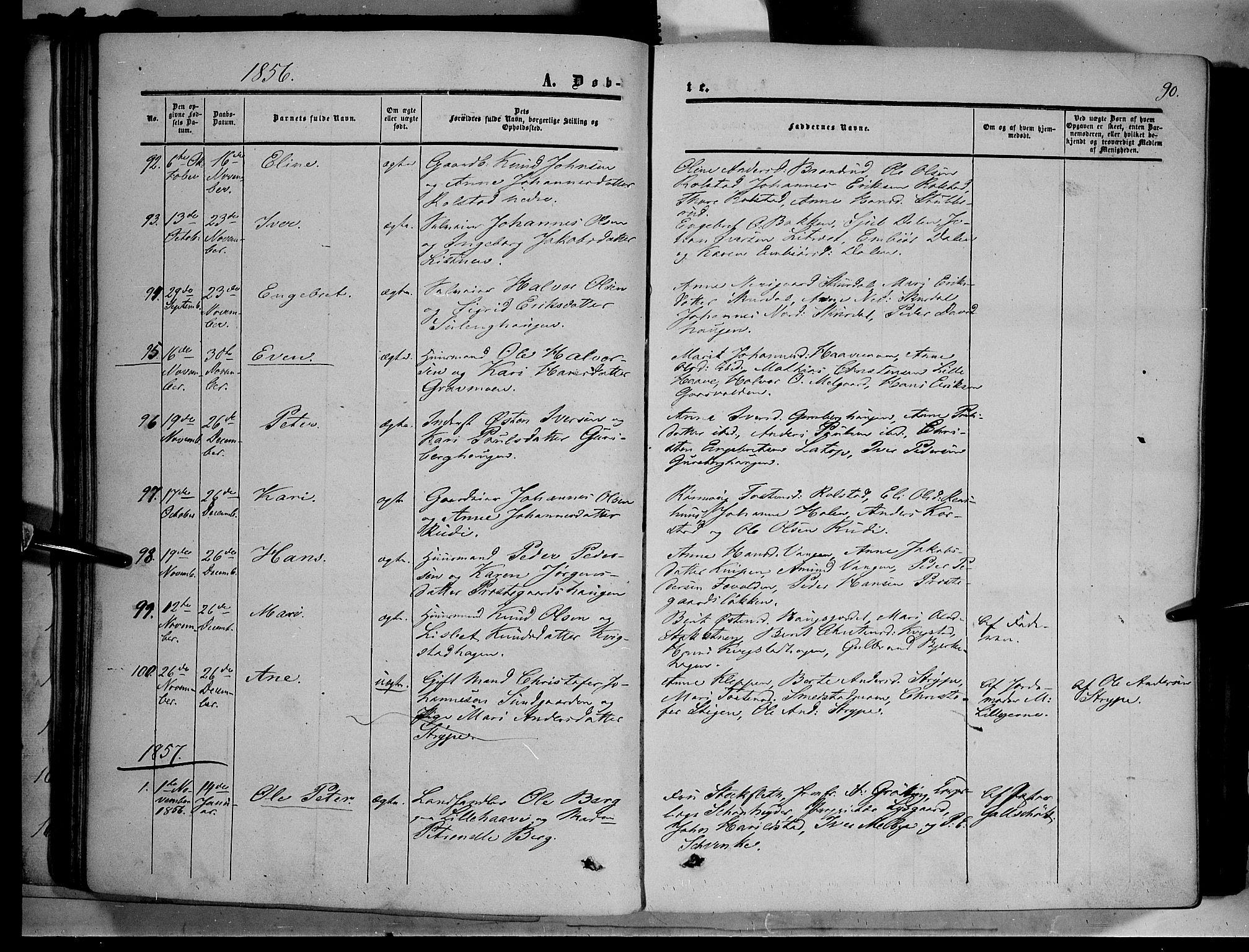 SAH, Sør-Fron prestekontor, H/Ha/Haa/L0001: Ministerialbok nr. 1, 1849-1863, s. 90