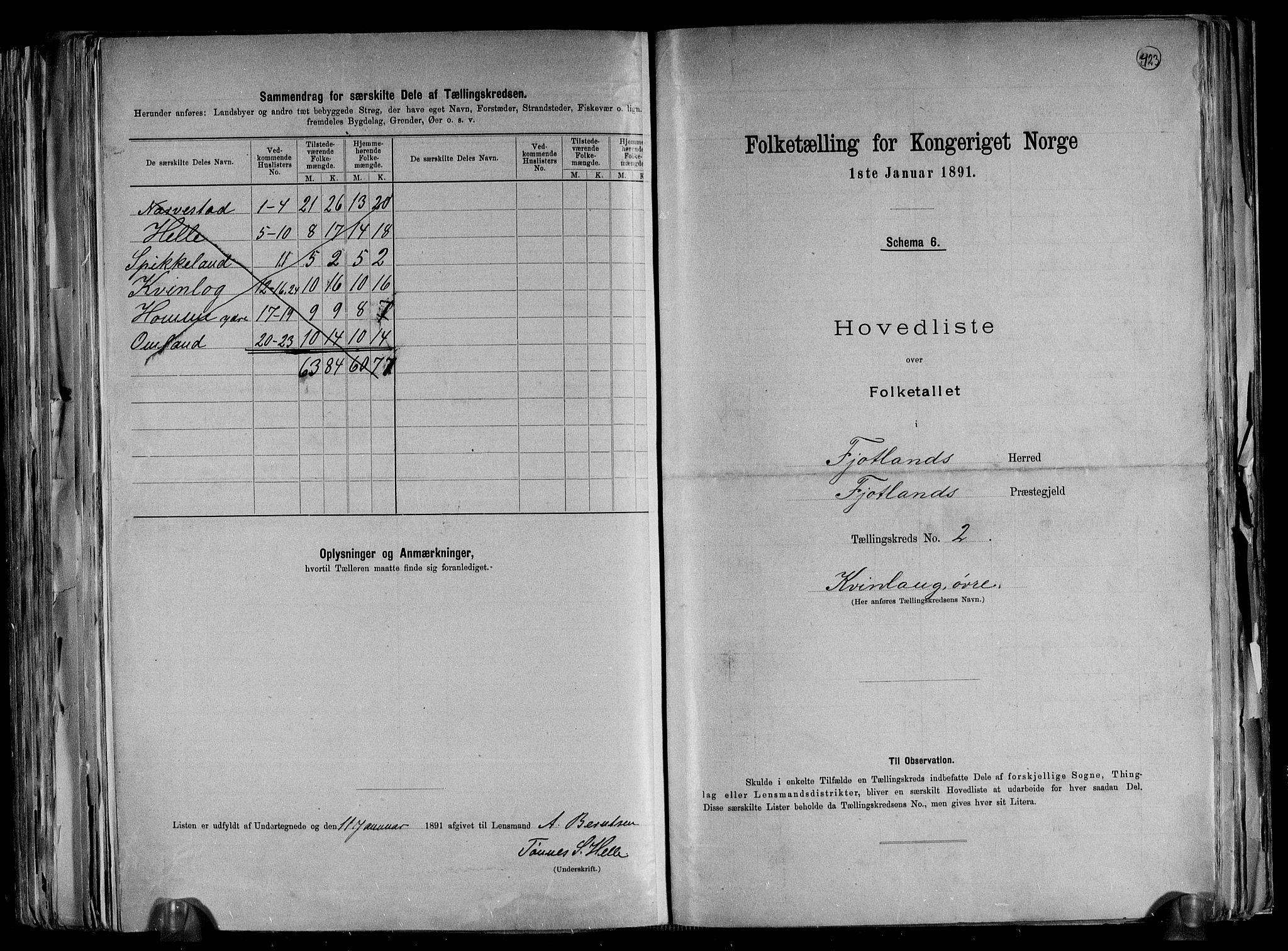 RA, Folketelling 1891 for 1036 Fjotland herred, 1891, s. 7