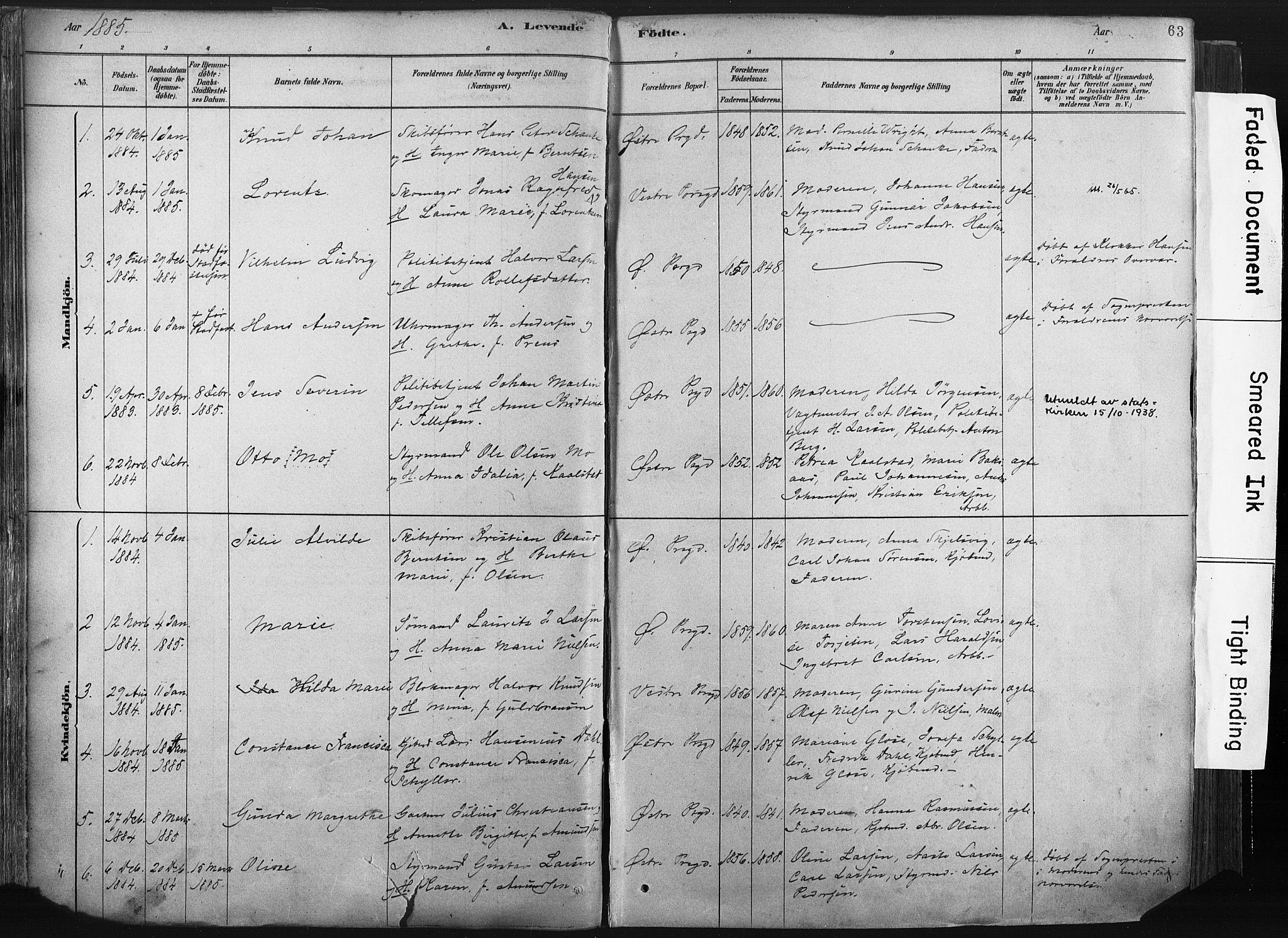 SAKO, Porsgrunn kirkebøker , F/Fa/L0008: Ministerialbok nr. 8, 1878-1895, s. 63