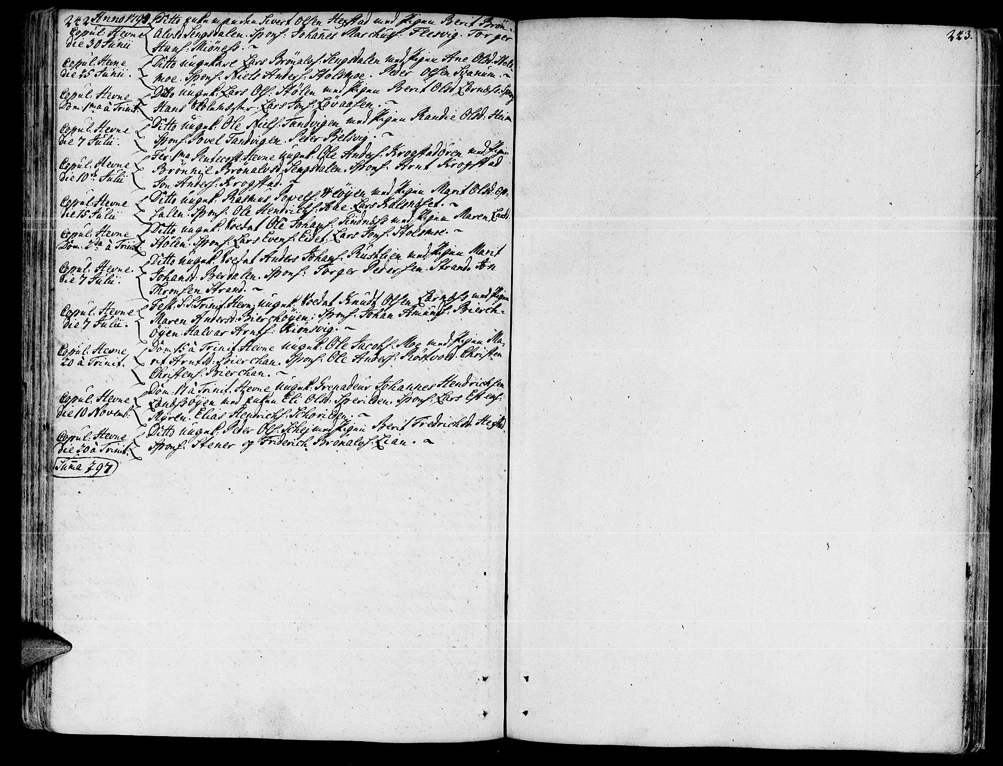 SAT, Ministerialprotokoller, klokkerbøker og fødselsregistre - Sør-Trøndelag, 630/L0489: Ministerialbok nr. 630A02, 1757-1794, s. 242-243