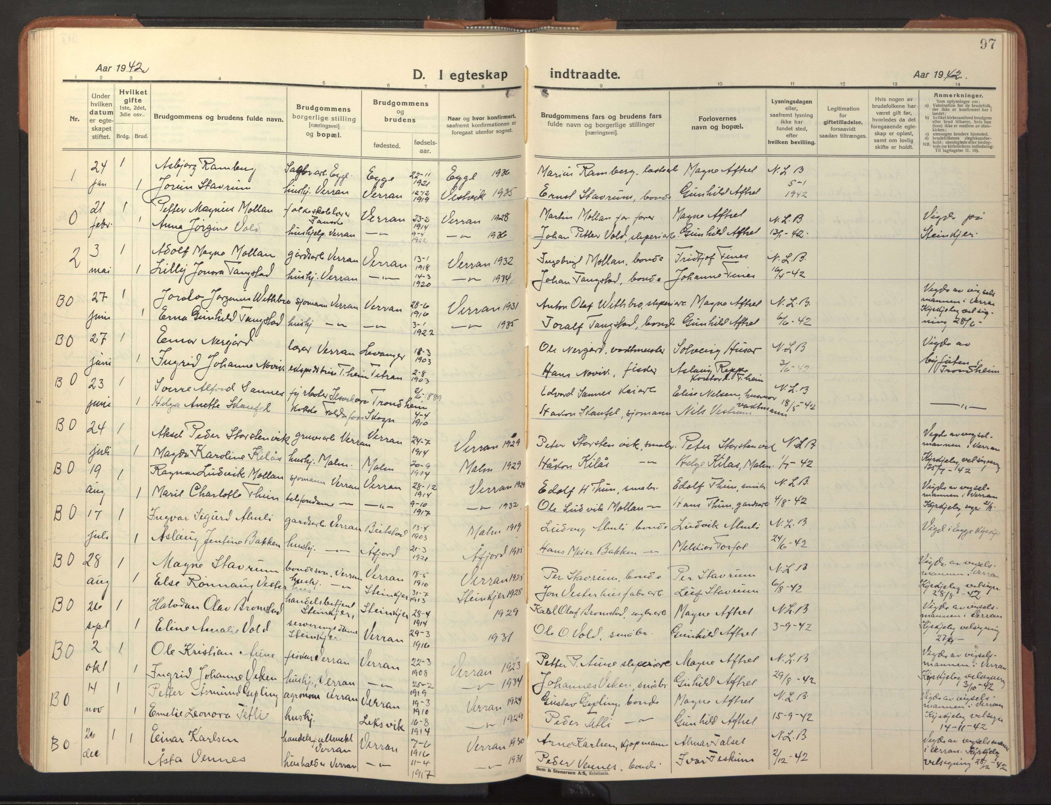 SAT, Ministerialprotokoller, klokkerbøker og fødselsregistre - Nord-Trøndelag, 744/L0425: Klokkerbok nr. 744C04, 1924-1947, s. 97