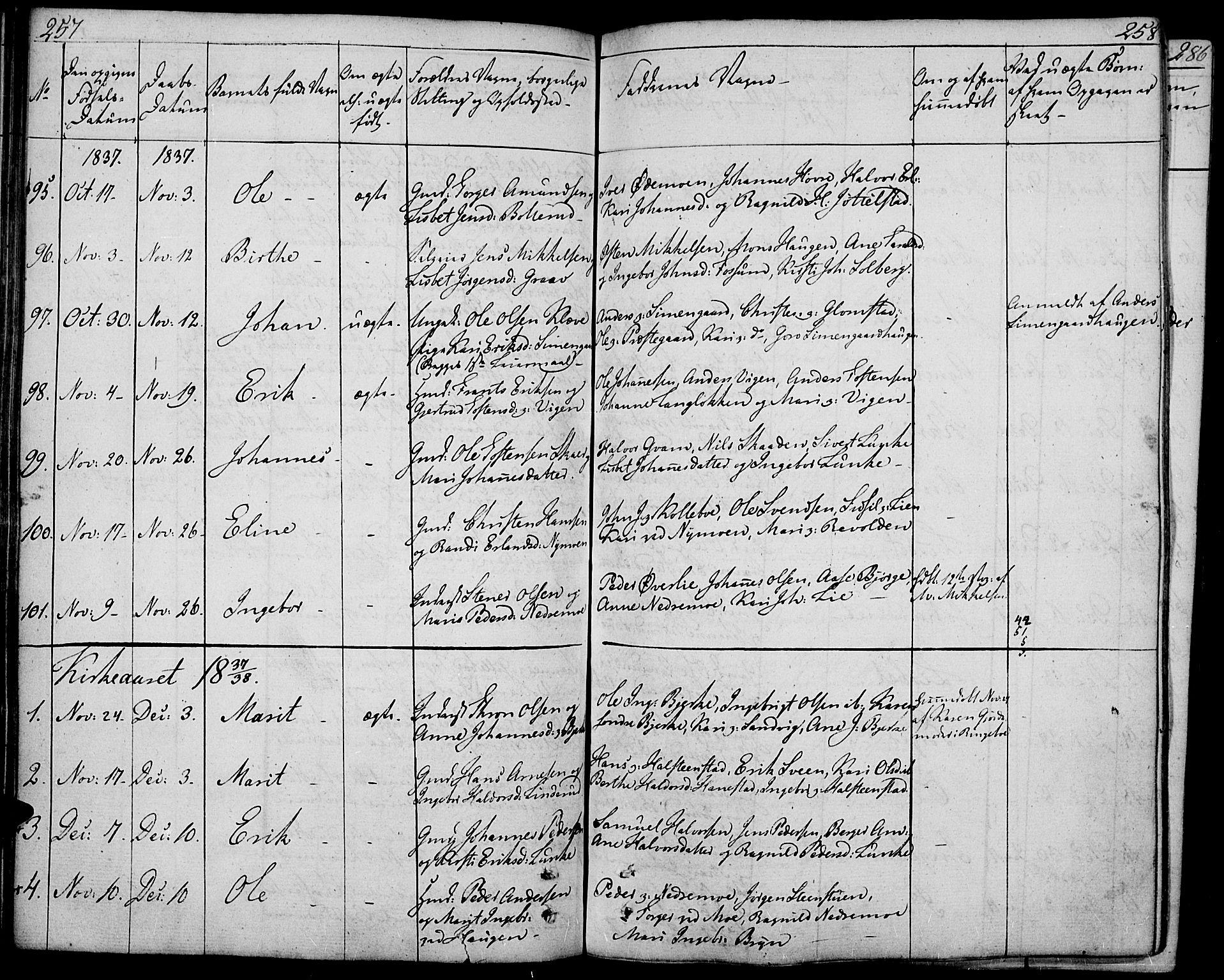 SAH, Øyer prestekontor, Ministerialbok nr. 4, 1824-1841, s. 257-258